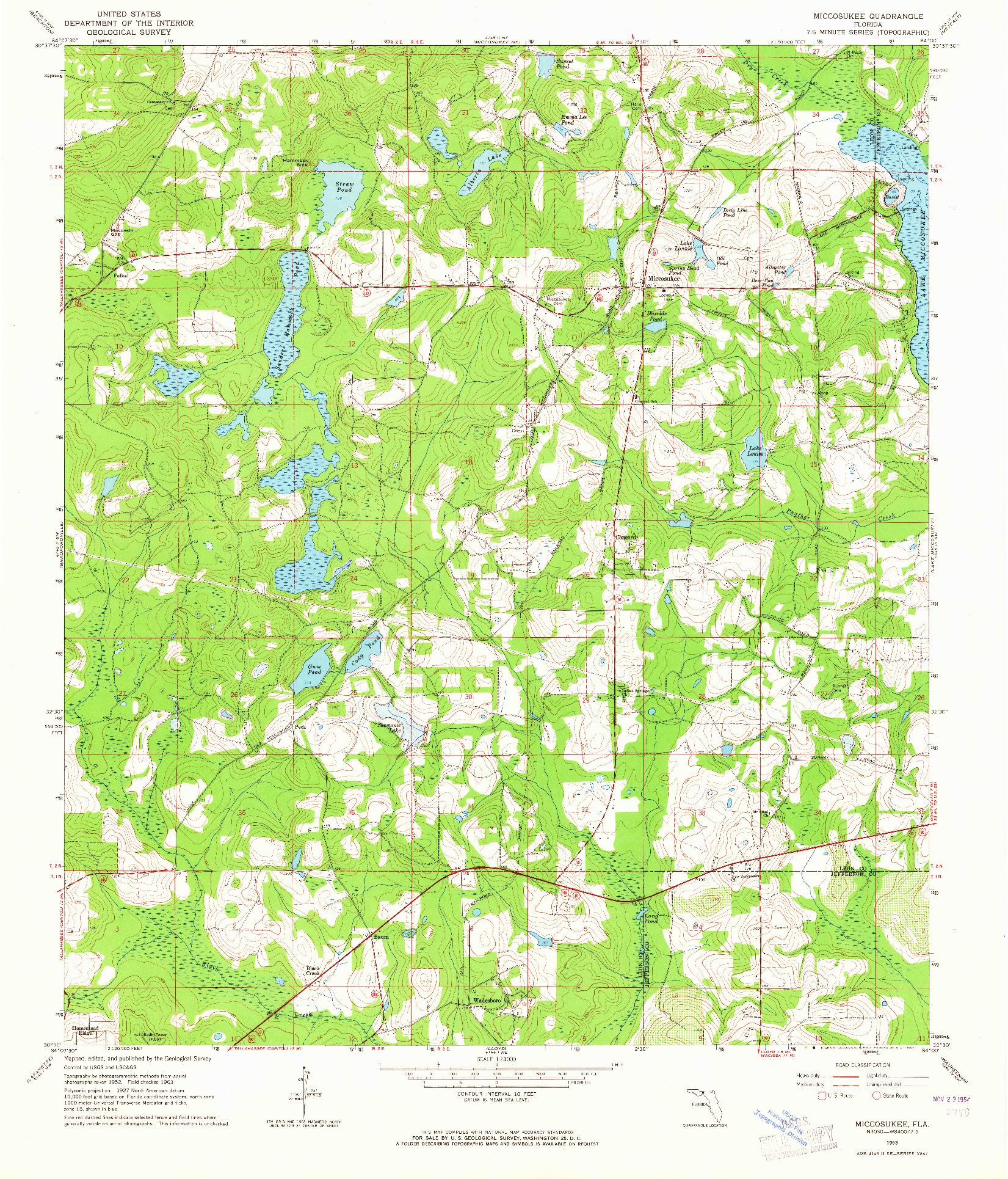 USGS 1:24000-SCALE QUADRANGLE FOR MICCOSUKEE, FL 1963