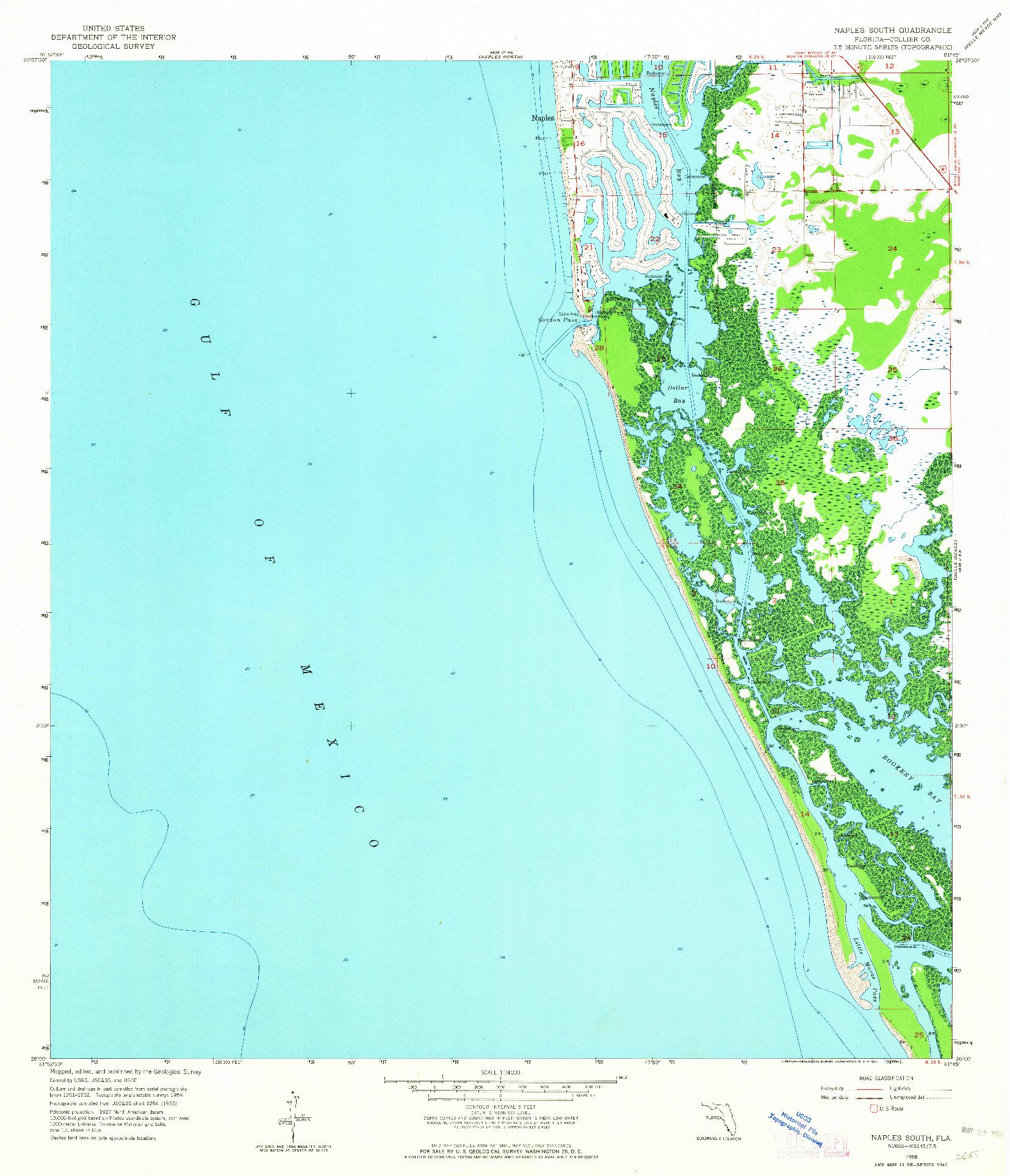 USGS 1:24000-SCALE QUADRANGLE FOR NAPLES SOUTH, FL 1958