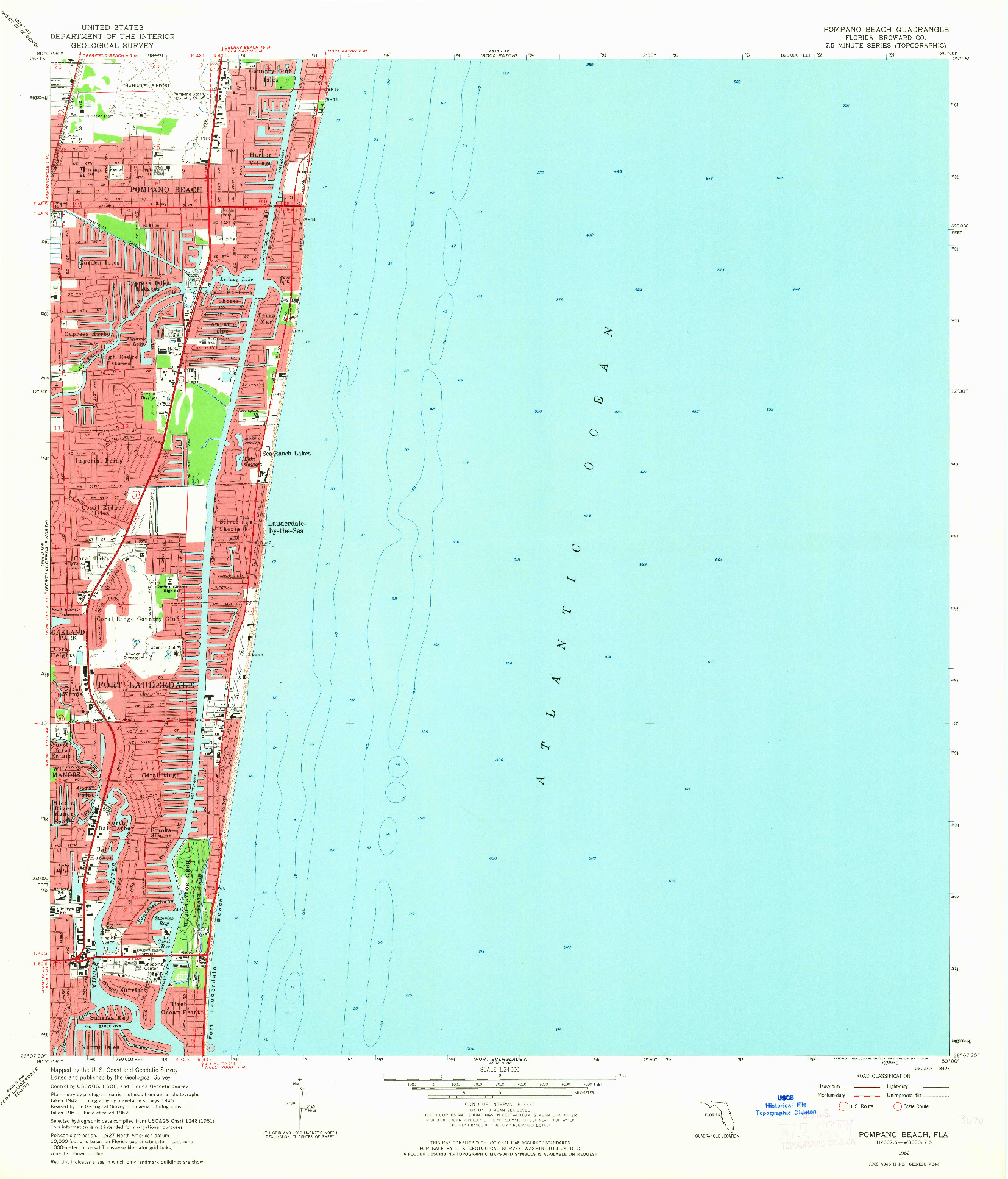 USGS 1:24000-SCALE QUADRANGLE FOR POMPANO BEACH, FL 1962