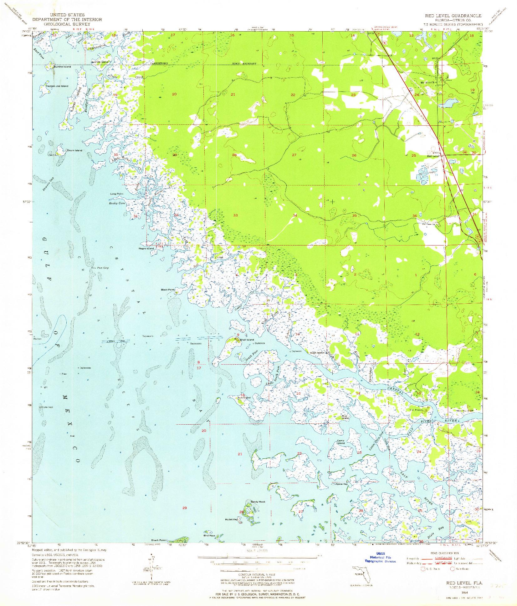 USGS 1:24000-SCALE QUADRANGLE FOR RED LEVEL, FL 1954