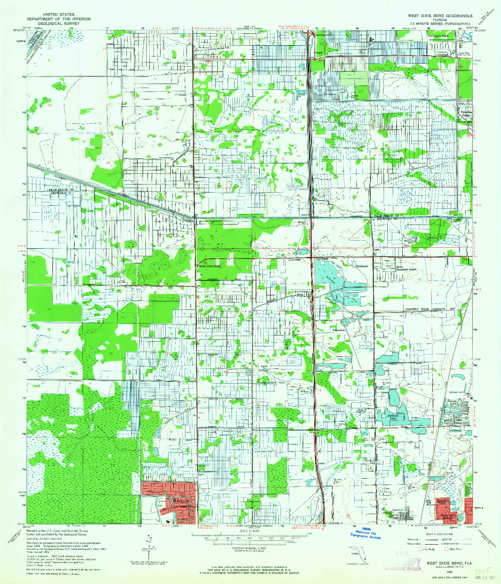 USGS 1:24000-SCALE QUADRANGLE FOR WEST DIXIE BEND, FL 1962