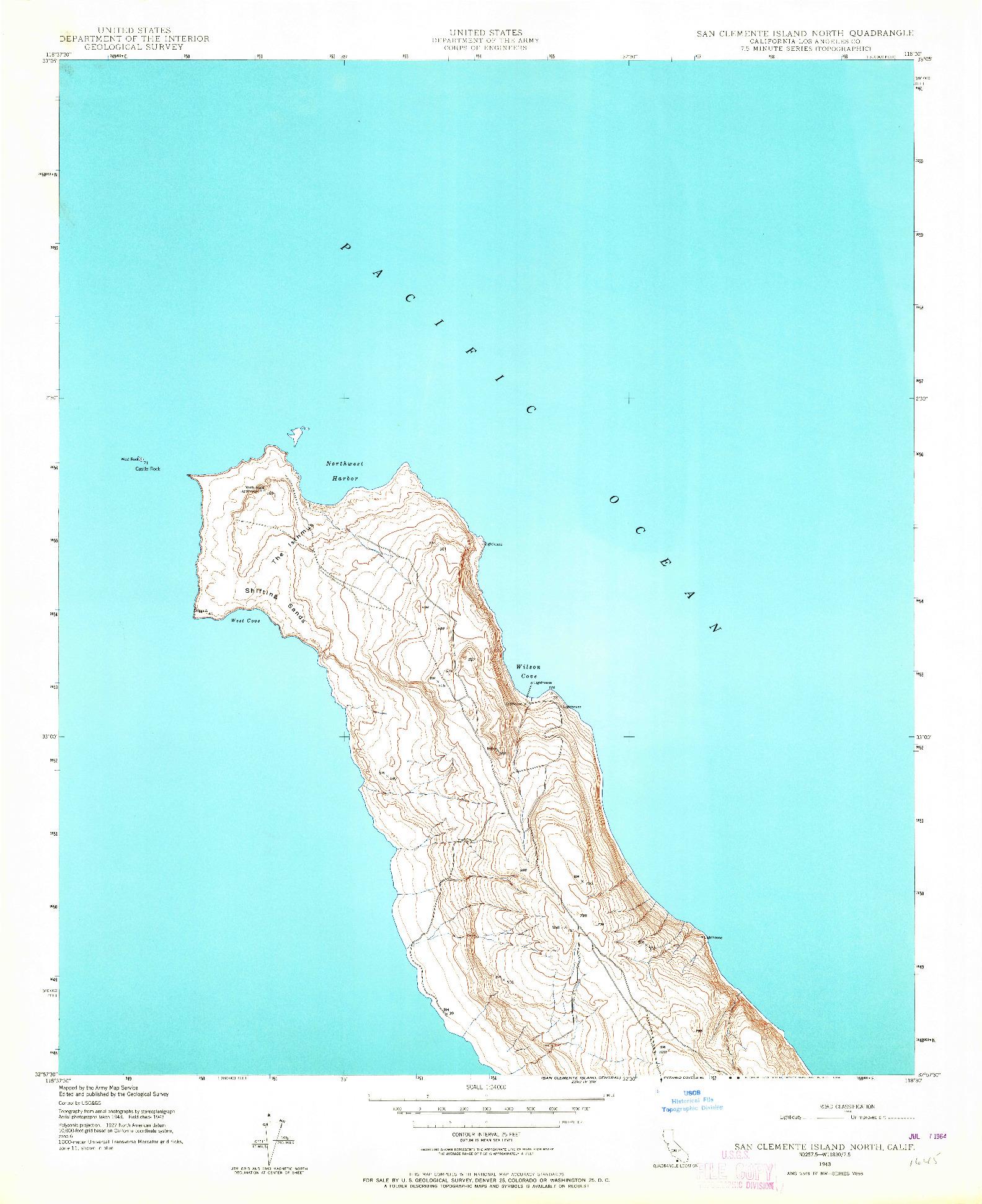 USGS 1:24000-SCALE QUADRANGLE FOR SAN CLEMENTE ISLAND NORTH, CA 1943