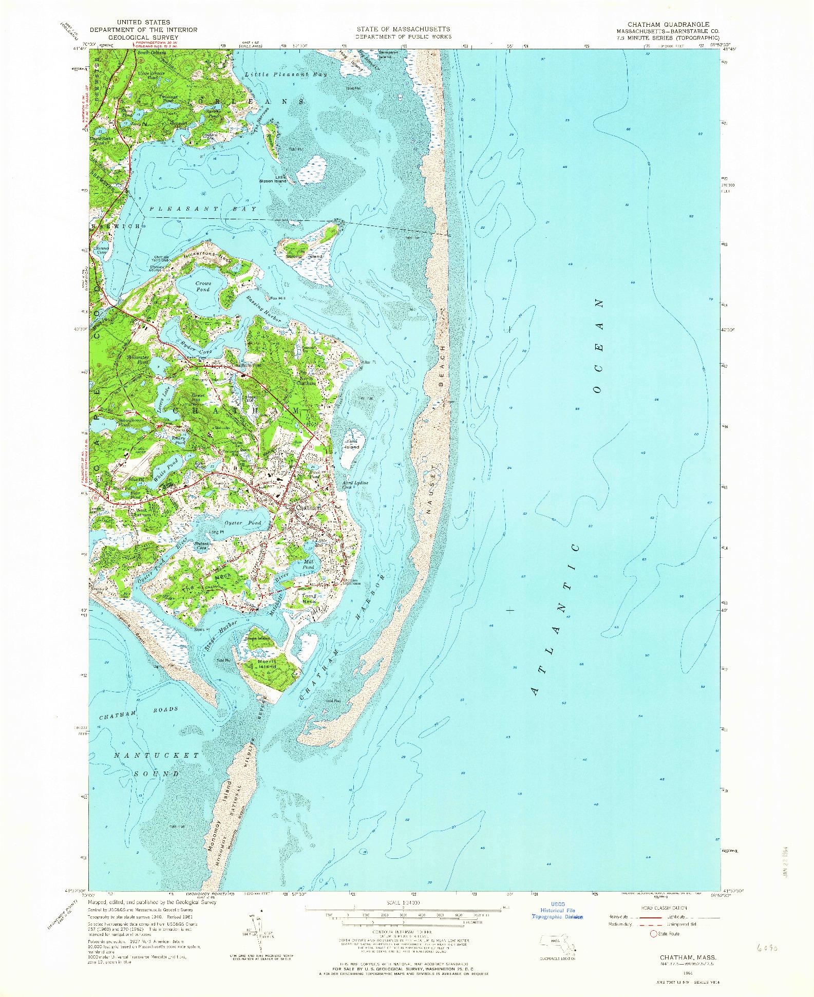 USGS 1:24000-SCALE QUADRANGLE FOR CHATHAM, MA 1961