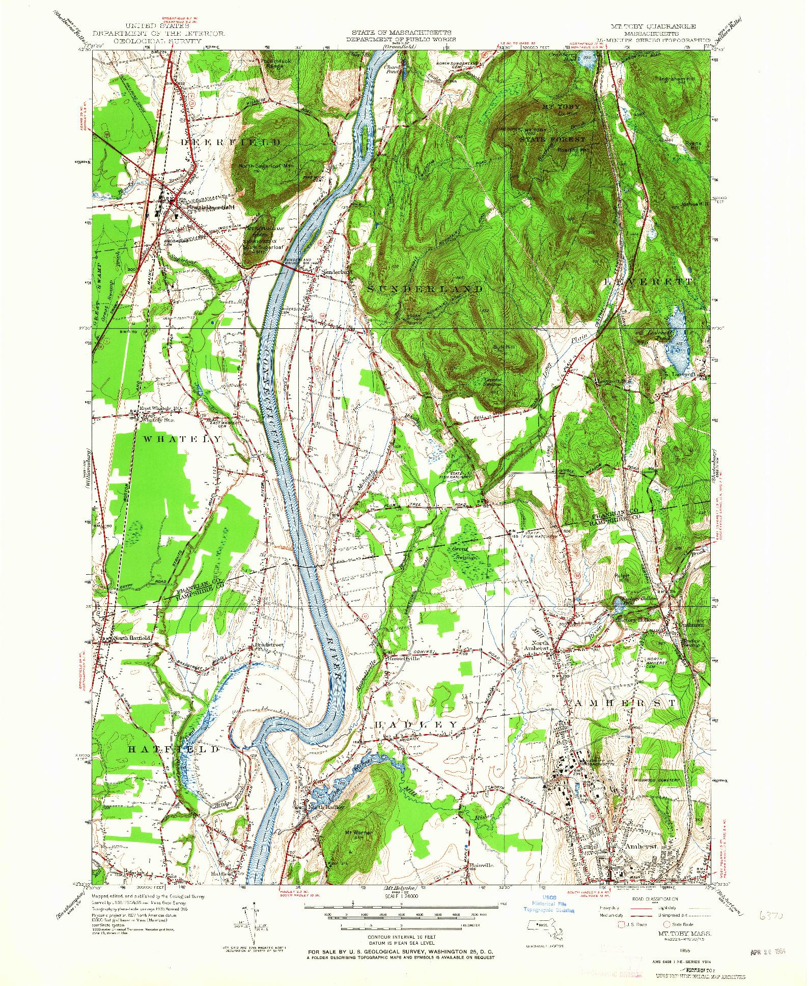 USGS 1:24000-SCALE QUADRANGLE FOR MT TOBY, MA 1955