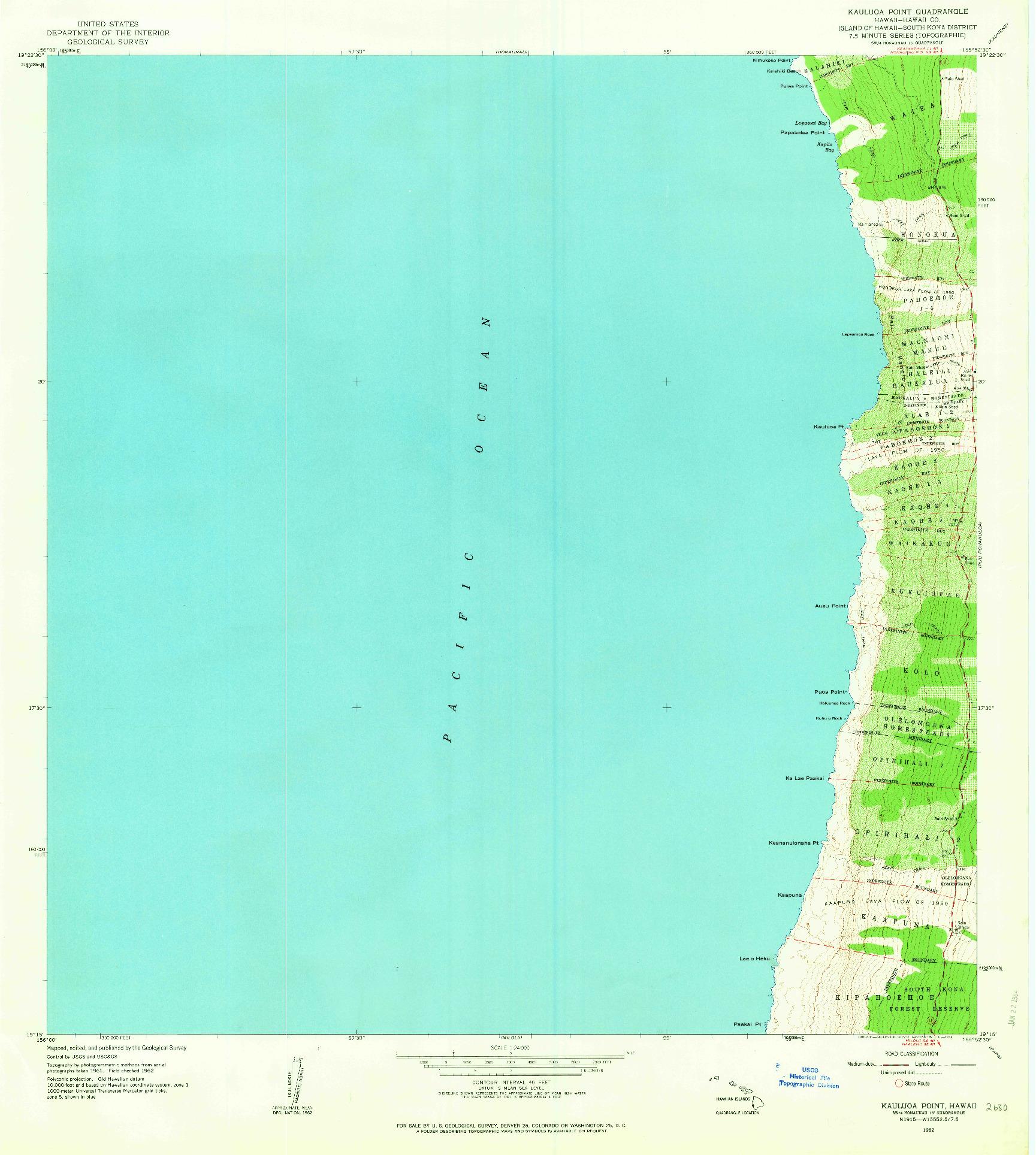 USGS 1:24000-SCALE QUADRANGLE FOR KAULUOA POINT, HI 1962