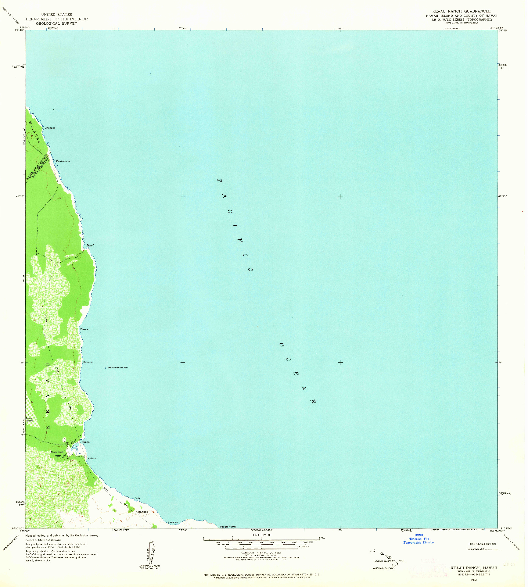 USGS 1:24000-SCALE QUADRANGLE FOR KEAAU RANCH, HI 1963