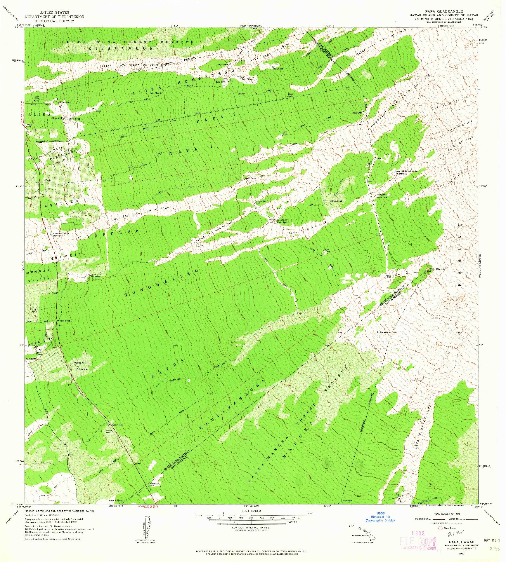 USGS 1:24000-SCALE QUADRANGLE FOR PAPA, HI 1962