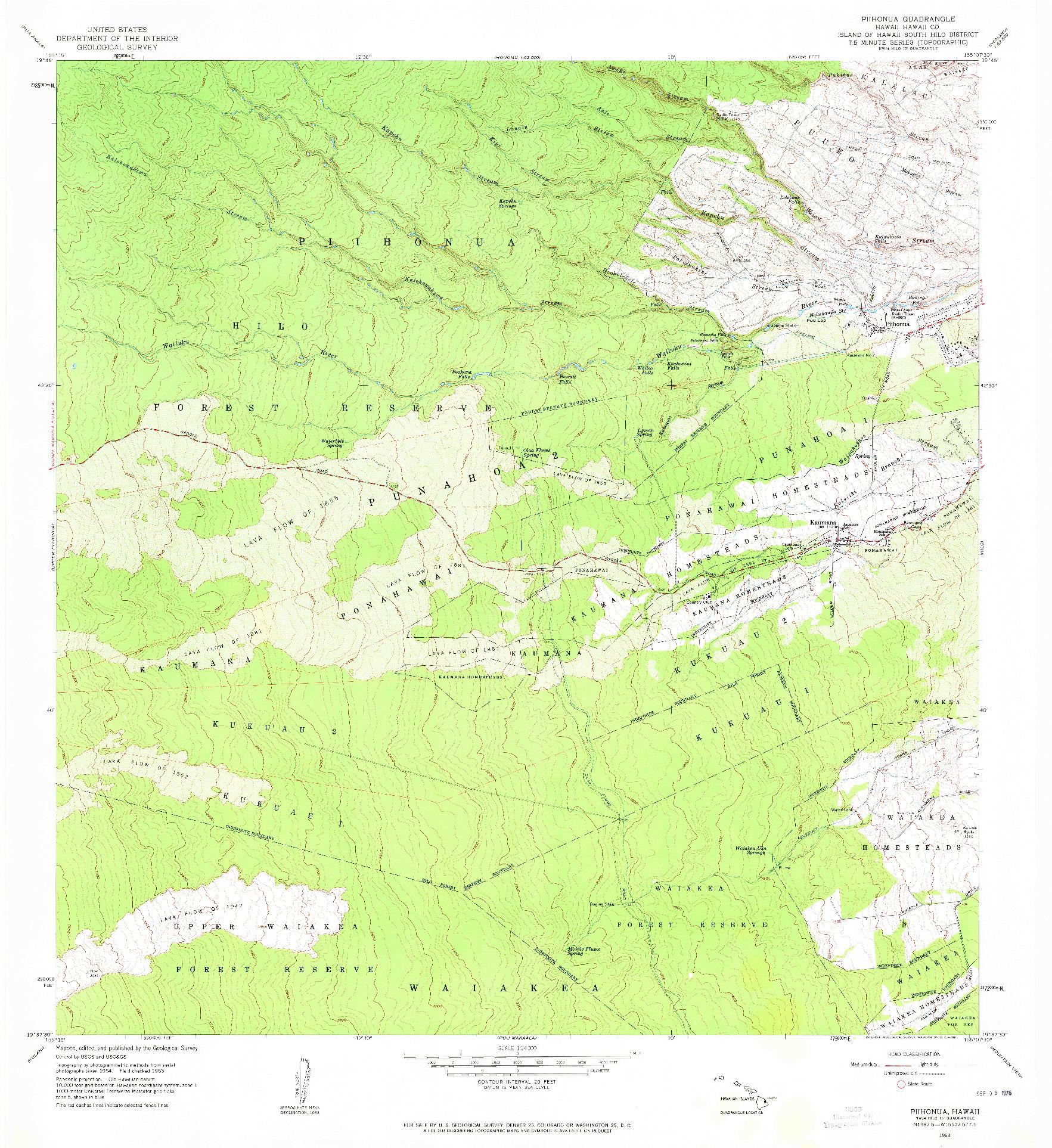 USGS 1:24000-SCALE QUADRANGLE FOR PIIHONUA, HI 1963