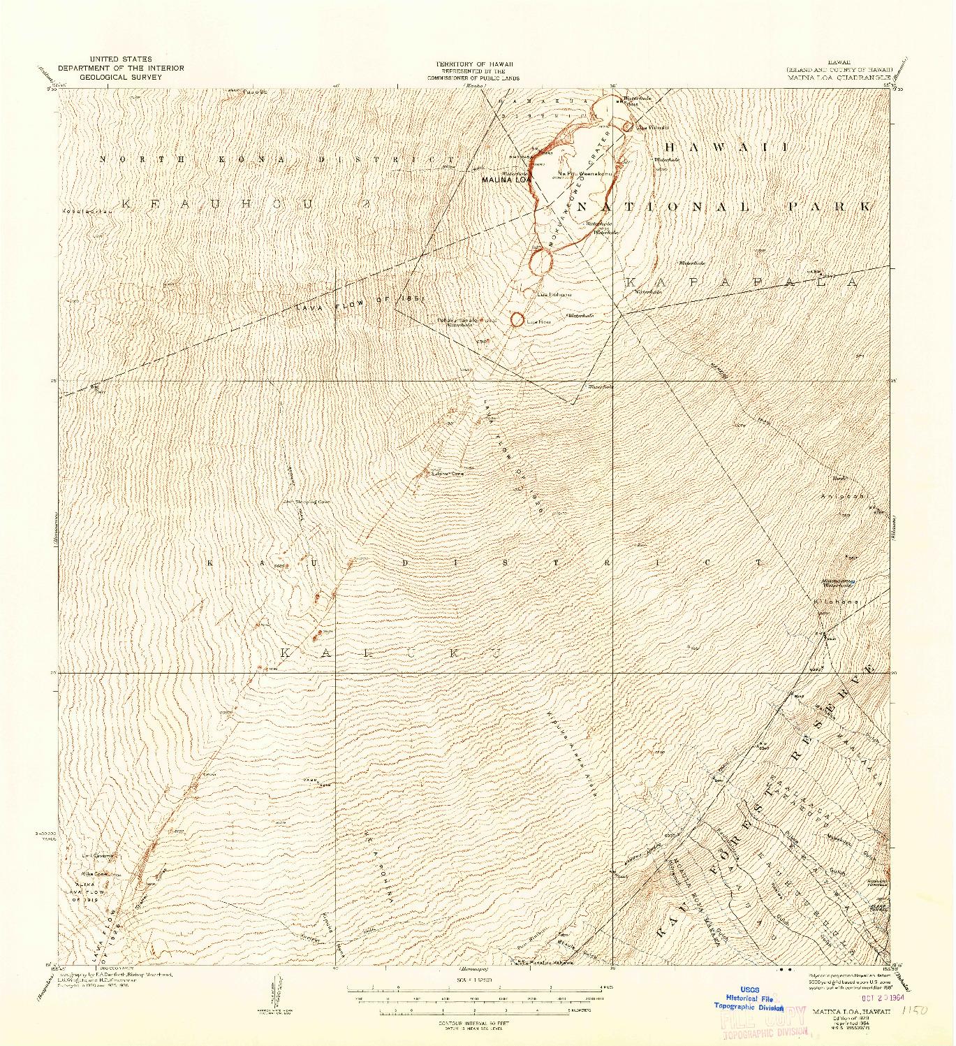 USGS 1:62500-SCALE QUADRANGLE FOR MAUNA LOA, HI 1928