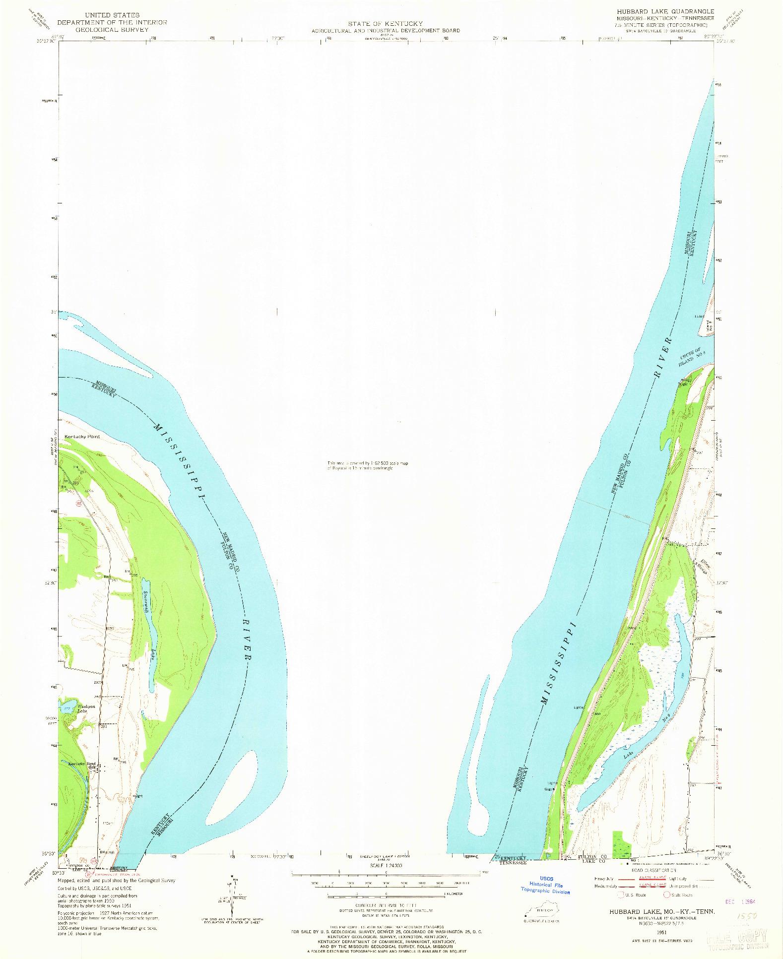 USGS 1:24000-SCALE QUADRANGLE FOR HUBBARD LAKE, MO 1951