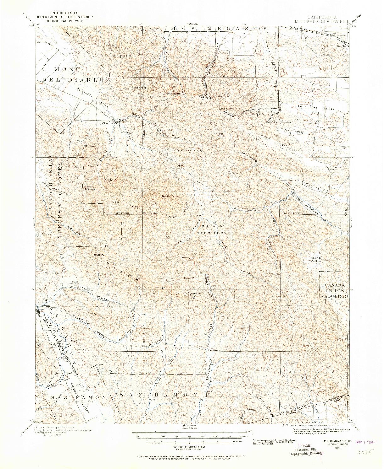USGS 1:62500-SCALE QUADRANGLE FOR MT. DIABLO, CA 1896