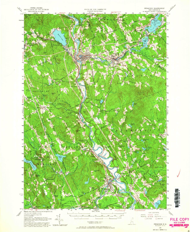 USGS 1:62500-SCALE QUADRANGLE FOR PENACOOK, NH 1956