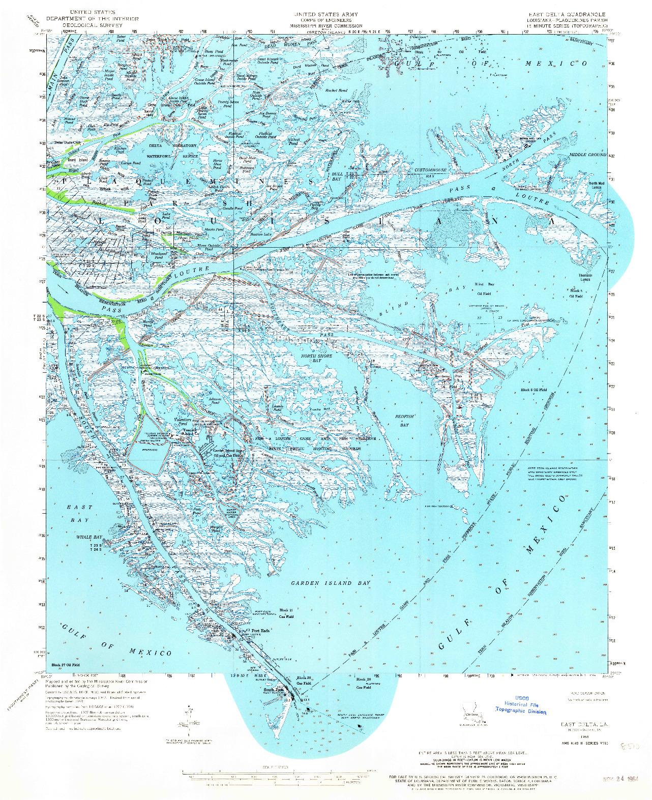 USGS 1:62500-SCALE QUADRANGLE FOR EAST DELTA, LA 1958
