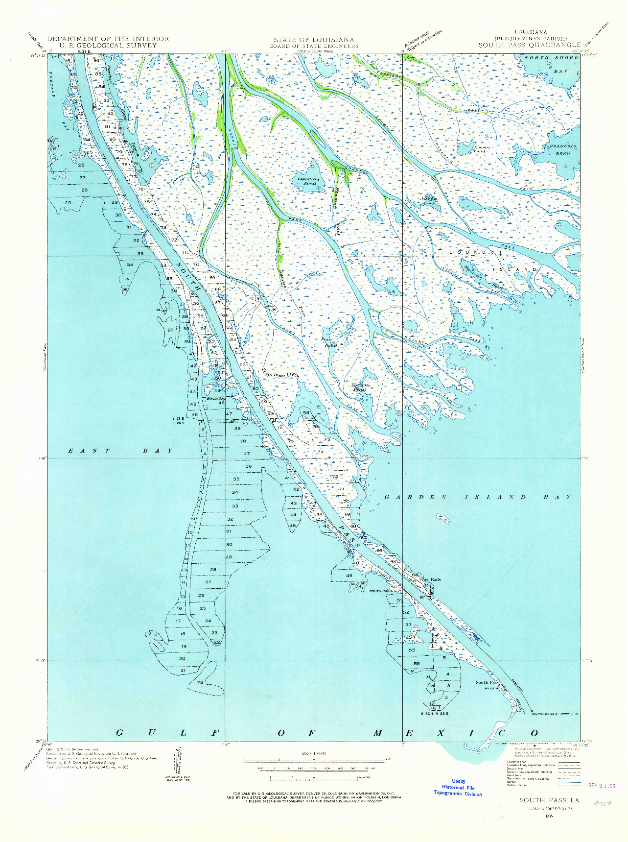 USGS 1:31680-SCALE QUADRANGLE FOR SOUTH PASS, LA 1935