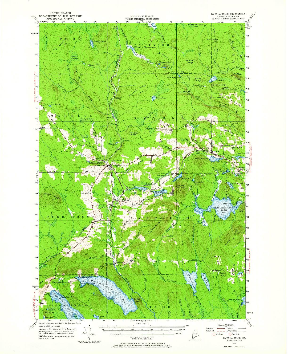 USGS 1:62500-SCALE QUADRANGLE FOR SMYRNA MILLS, ME 1955