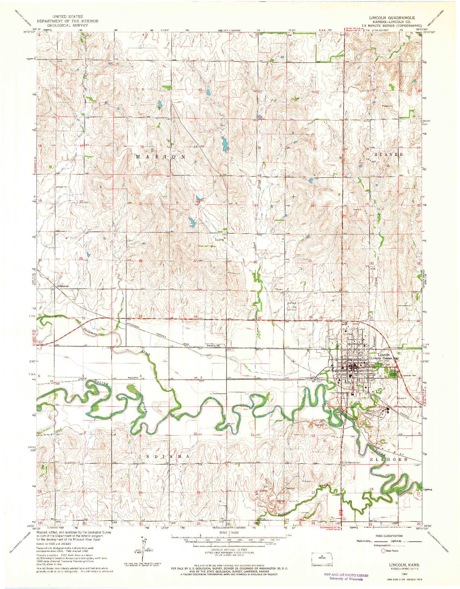 USGS 1:24000-SCALE QUADRANGLE FOR LINCOLN, KS 1962