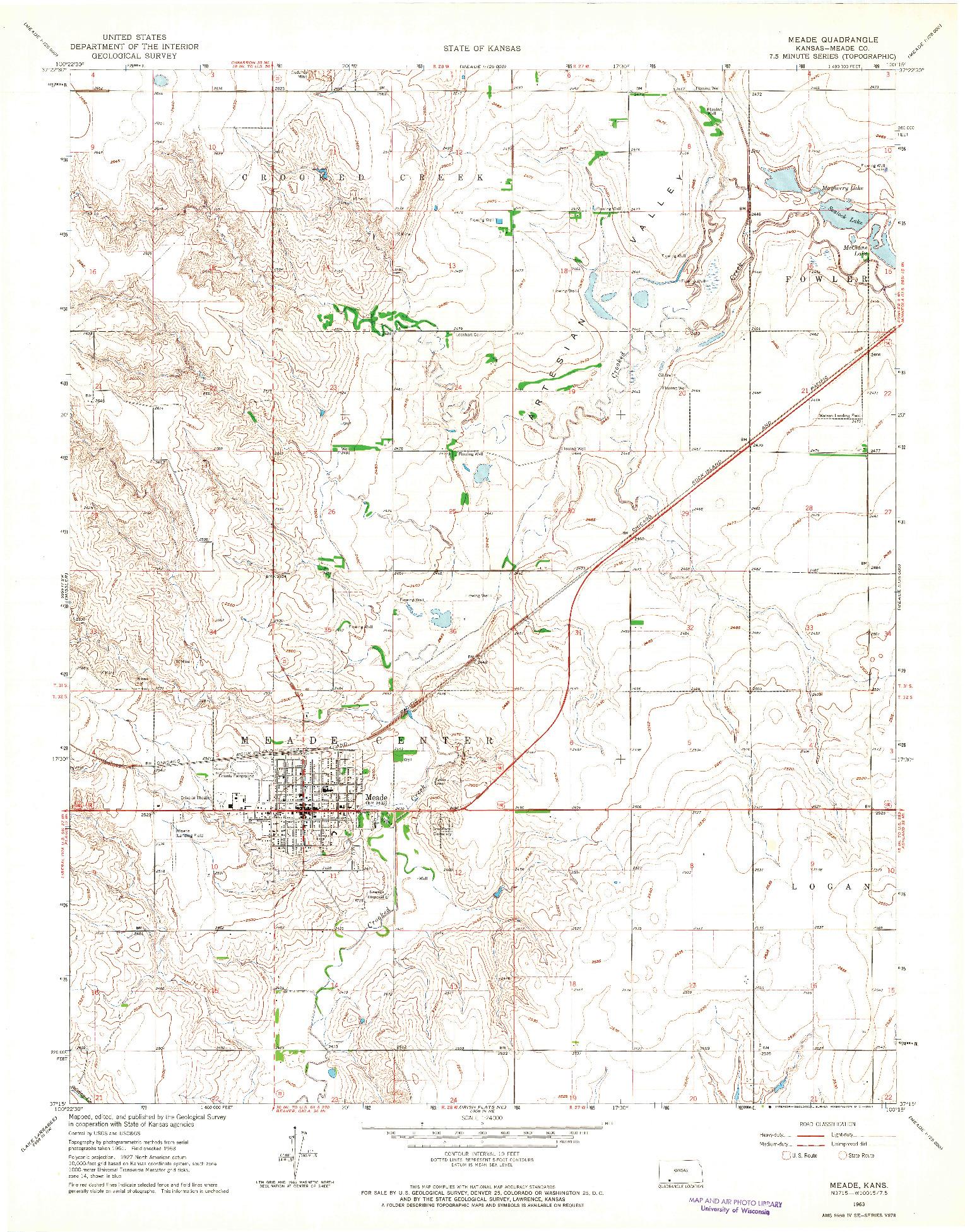 USGS 1:24000-SCALE QUADRANGLE FOR MEADE, KS 1963