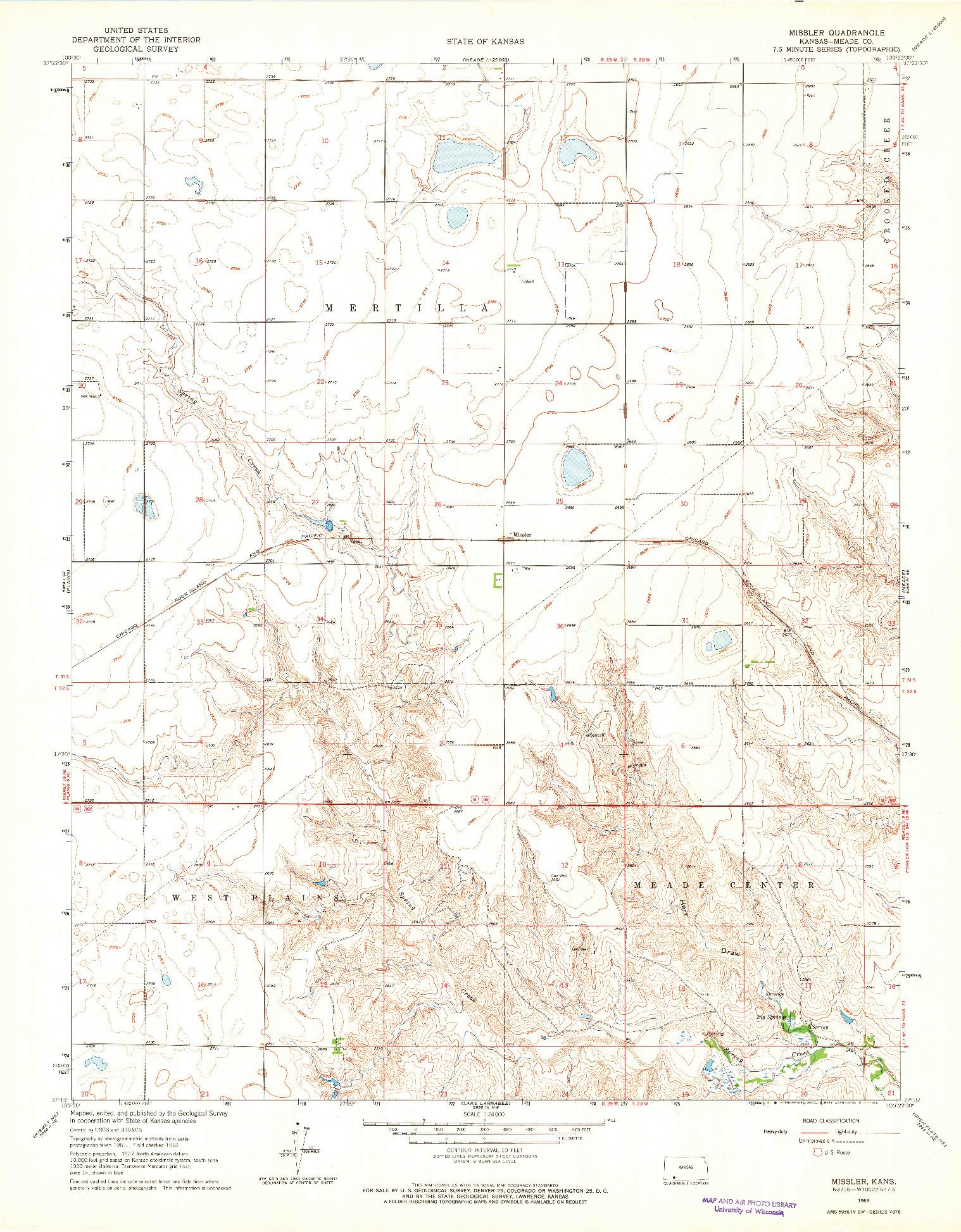 USGS 1:24000-SCALE QUADRANGLE FOR MISSLER, KS 1963