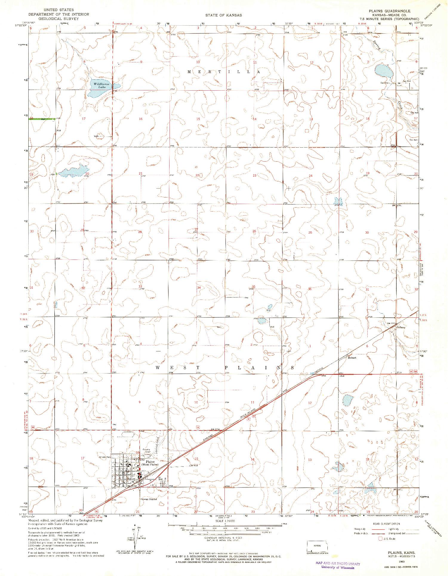 USGS 1:24000-SCALE QUADRANGLE FOR PLAINS, KS 1963