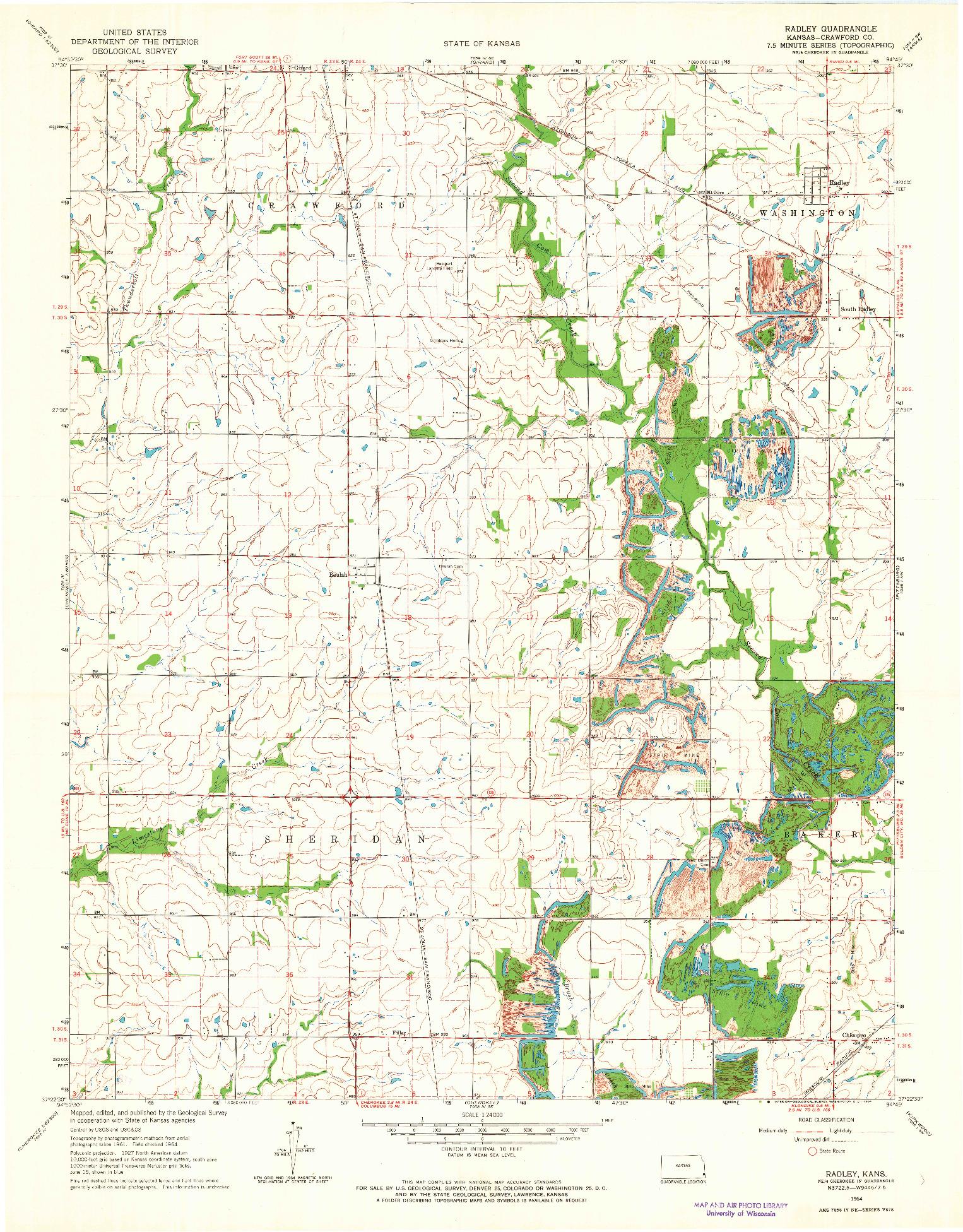 USGS 1:24000-SCALE QUADRANGLE FOR RADLEY, KS 1964