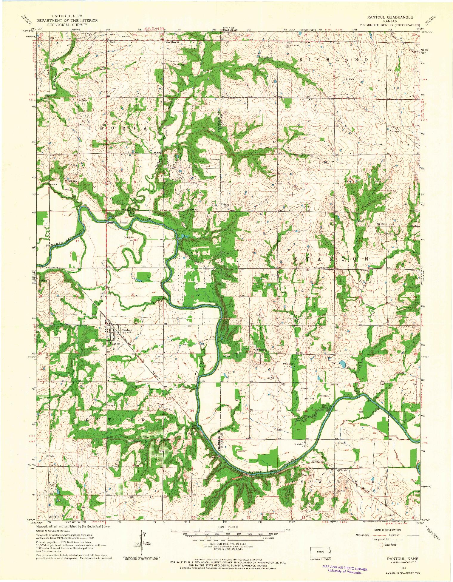 USGS 1:24000-SCALE QUADRANGLE FOR RANTOUL, KS 1963