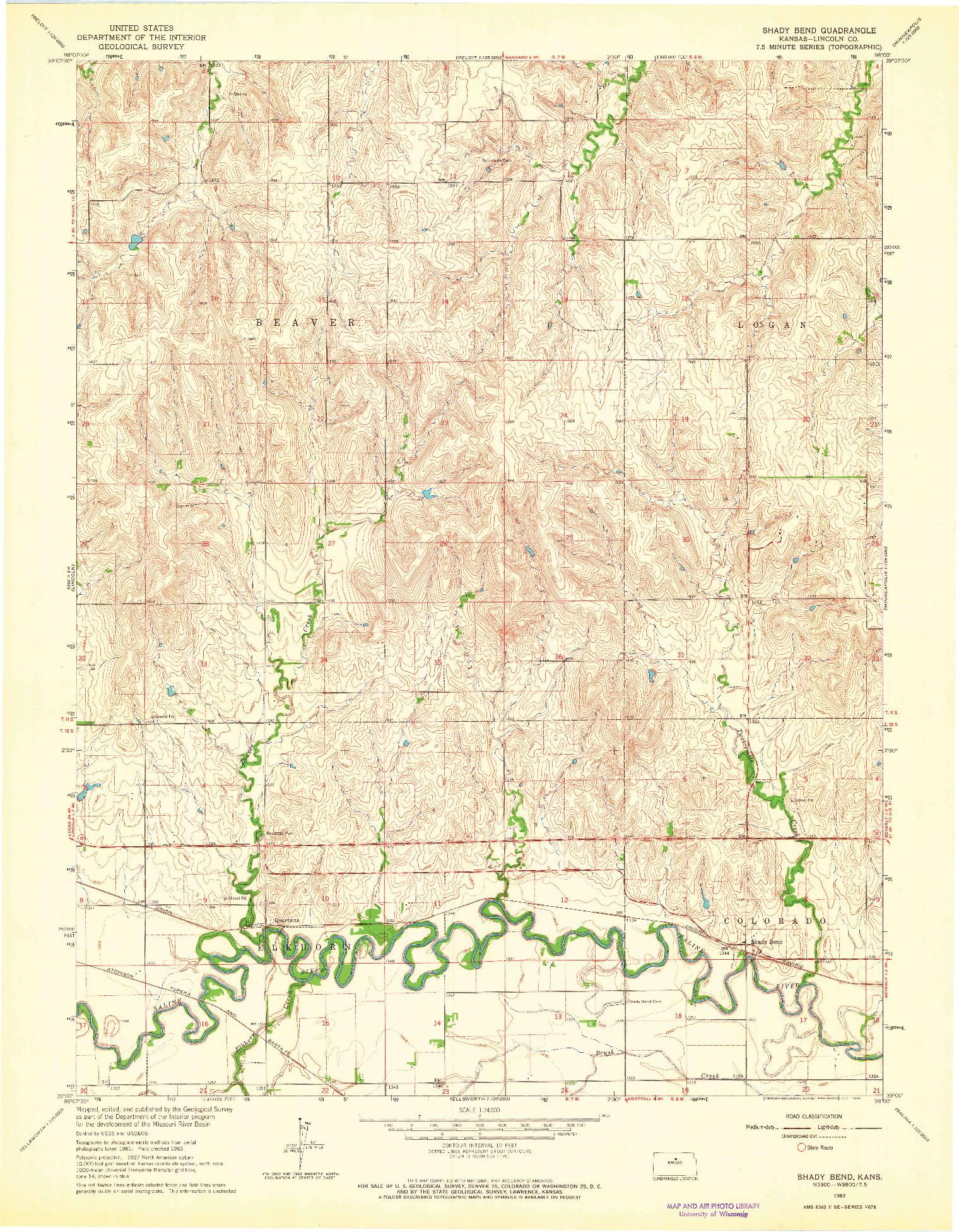 USGS 1:24000-SCALE QUADRANGLE FOR SHADY BEND, KS 1963