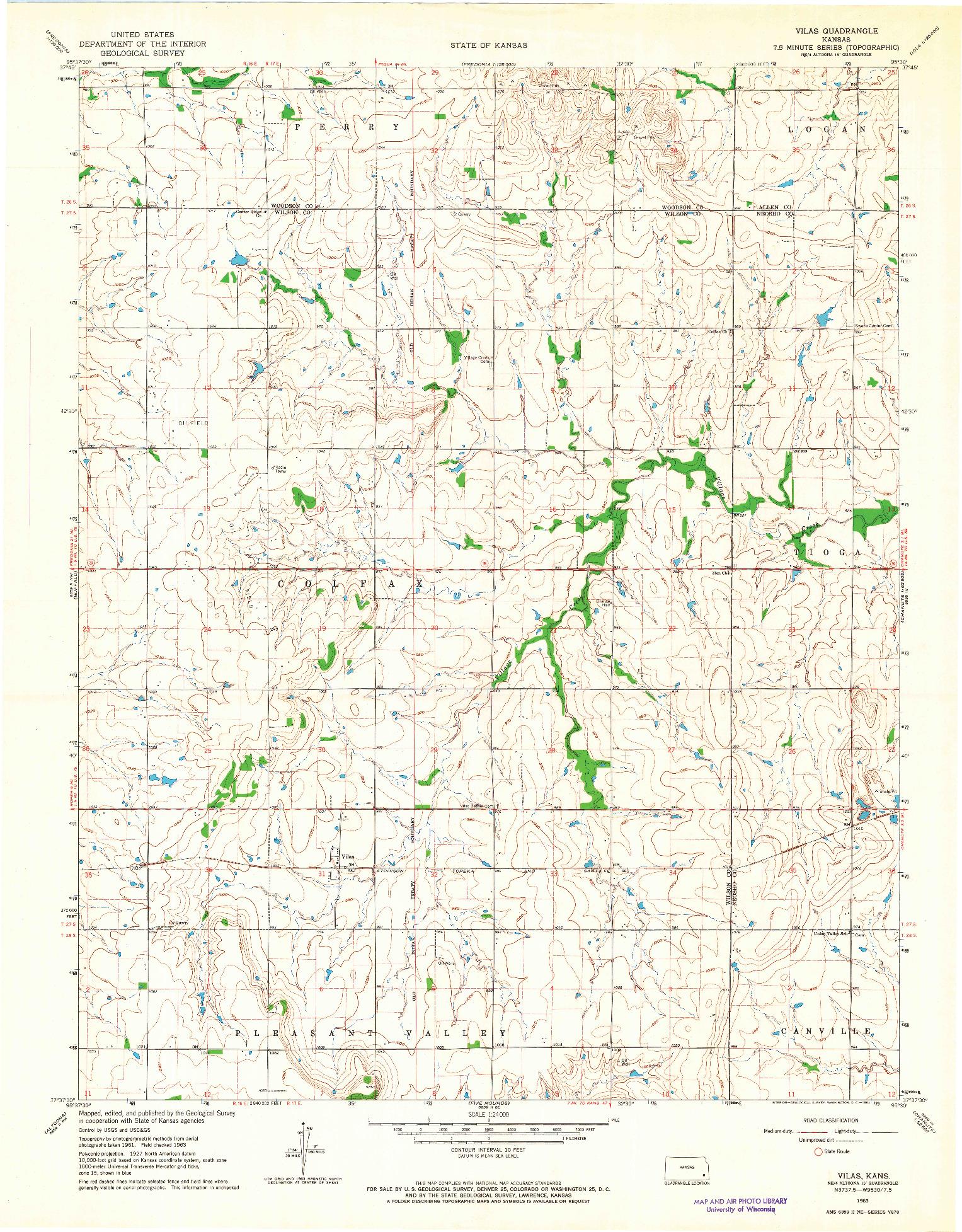 USGS 1:24000-SCALE QUADRANGLE FOR VILAS, KS 1963