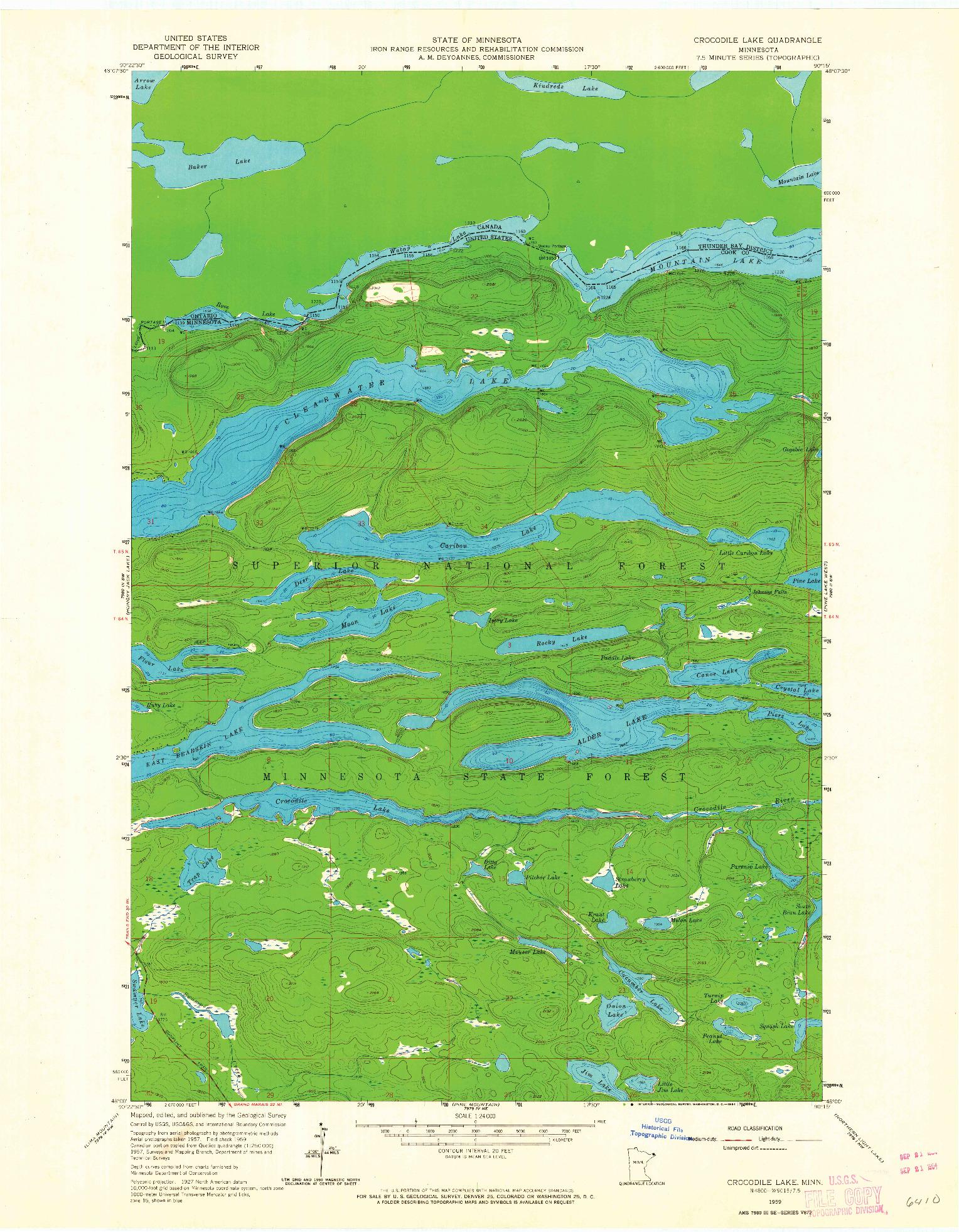 USGS 1:24000-SCALE QUADRANGLE FOR CROCODILE LAKE, MN 1959