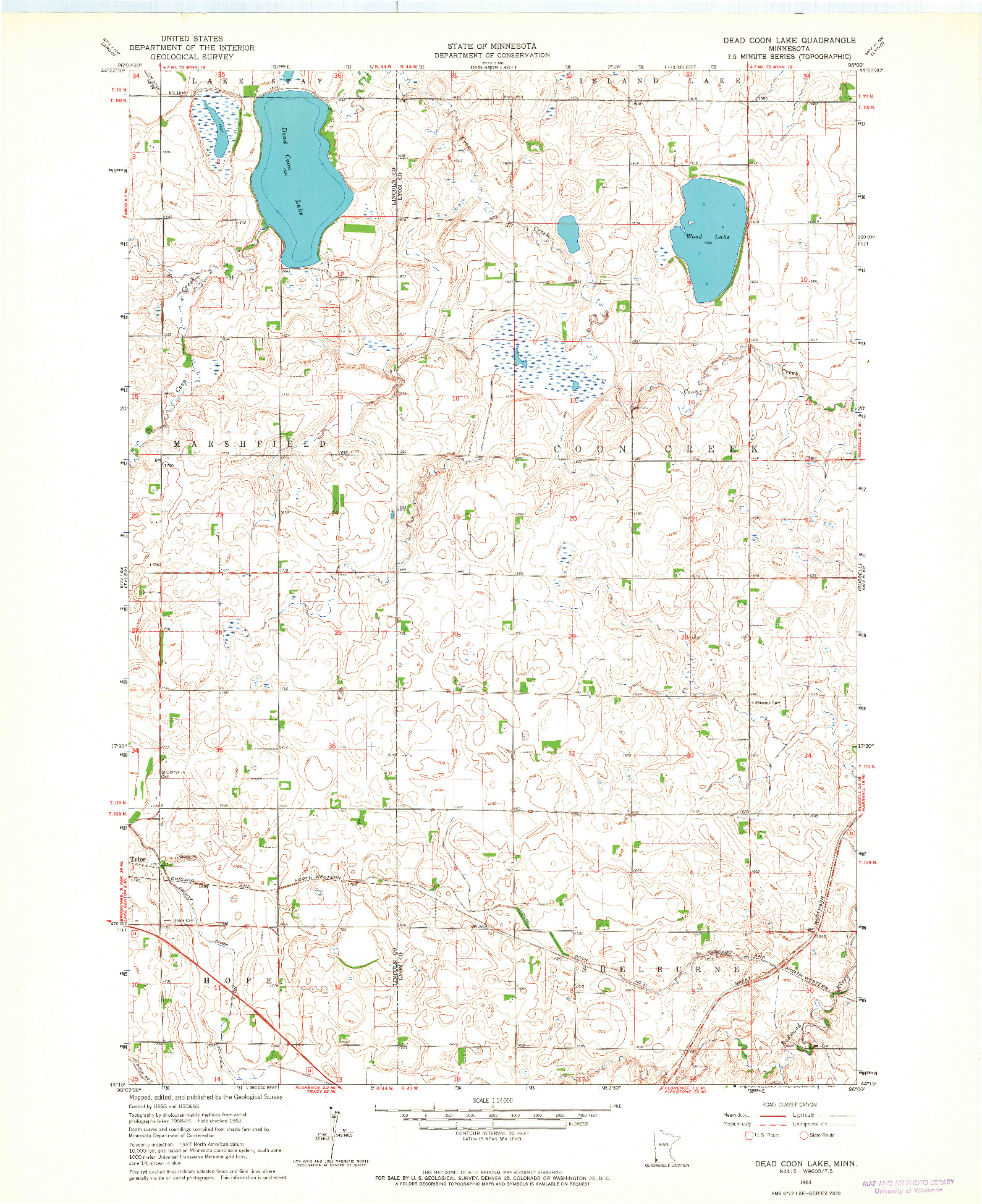 USGS 1:24000-SCALE QUADRANGLE FOR DEAD COON LAKE, MN 1963
