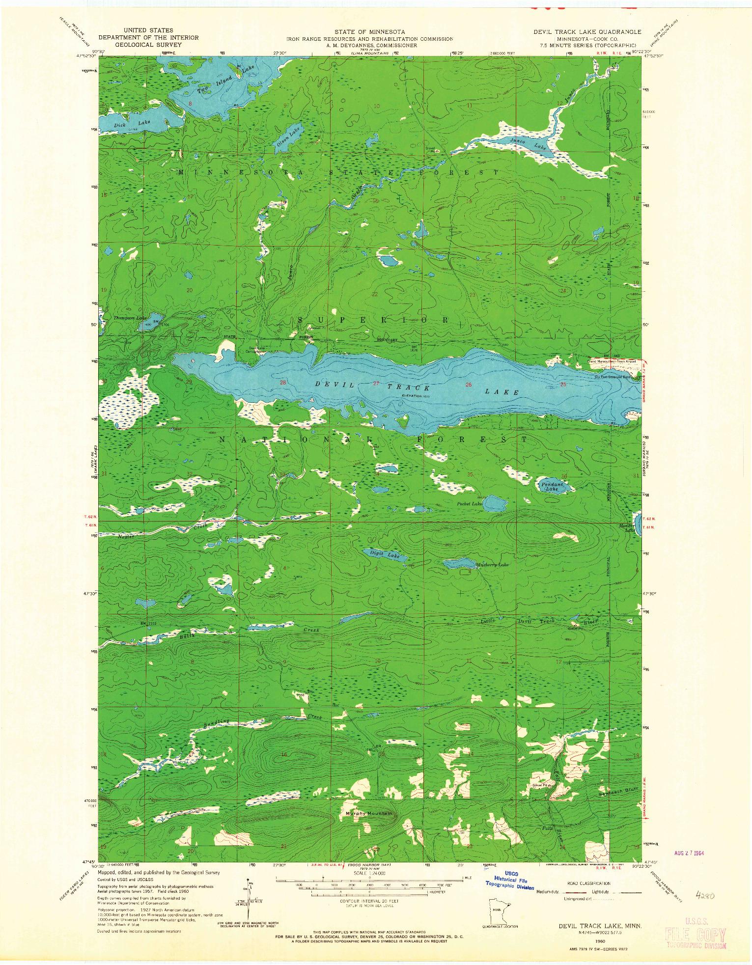 USGS 1:24000-SCALE QUADRANGLE FOR DEVIL TRACK LAKE, MN 1960