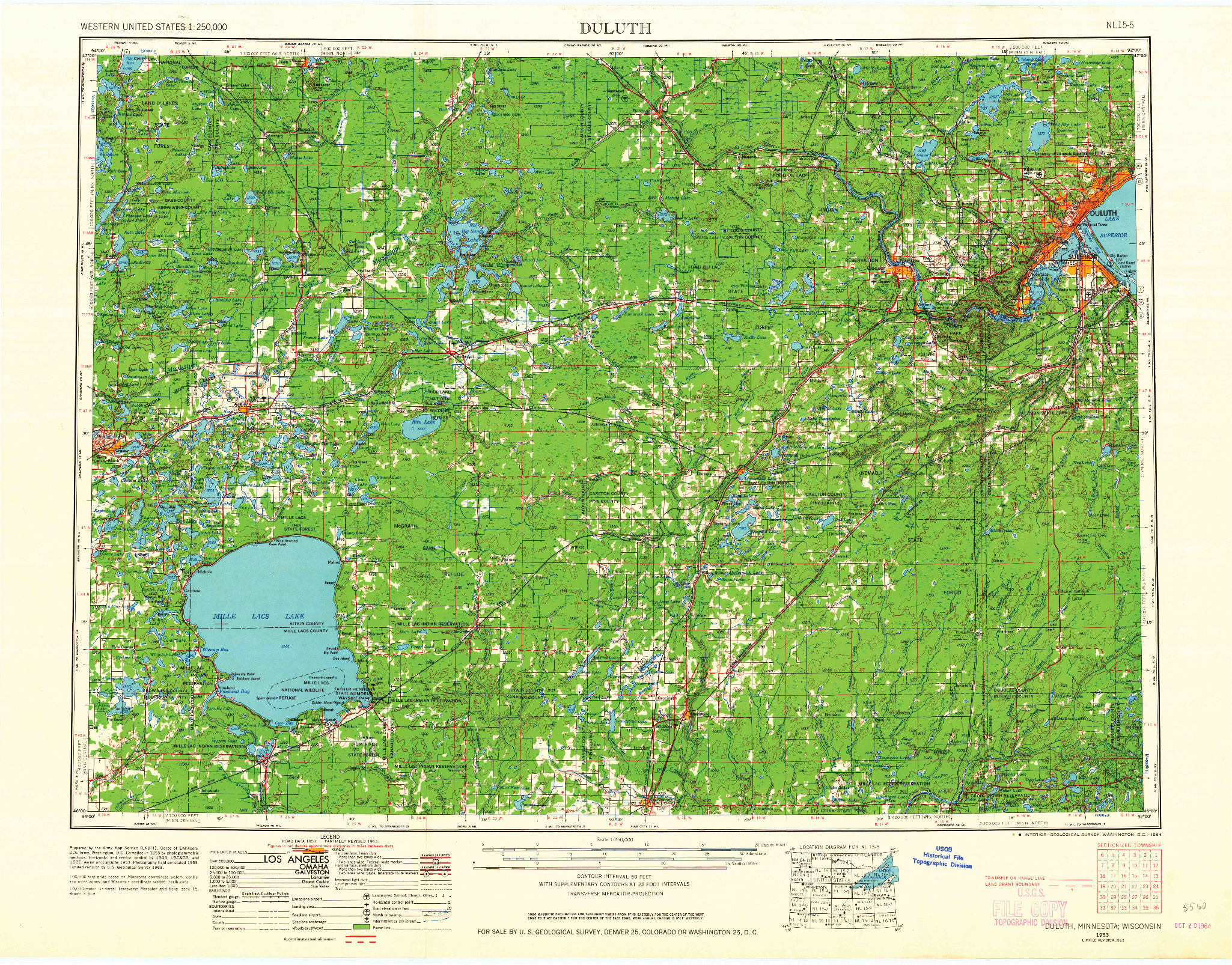 USGS 1:250000-SCALE QUADRANGLE FOR DULUTH, MN 1953