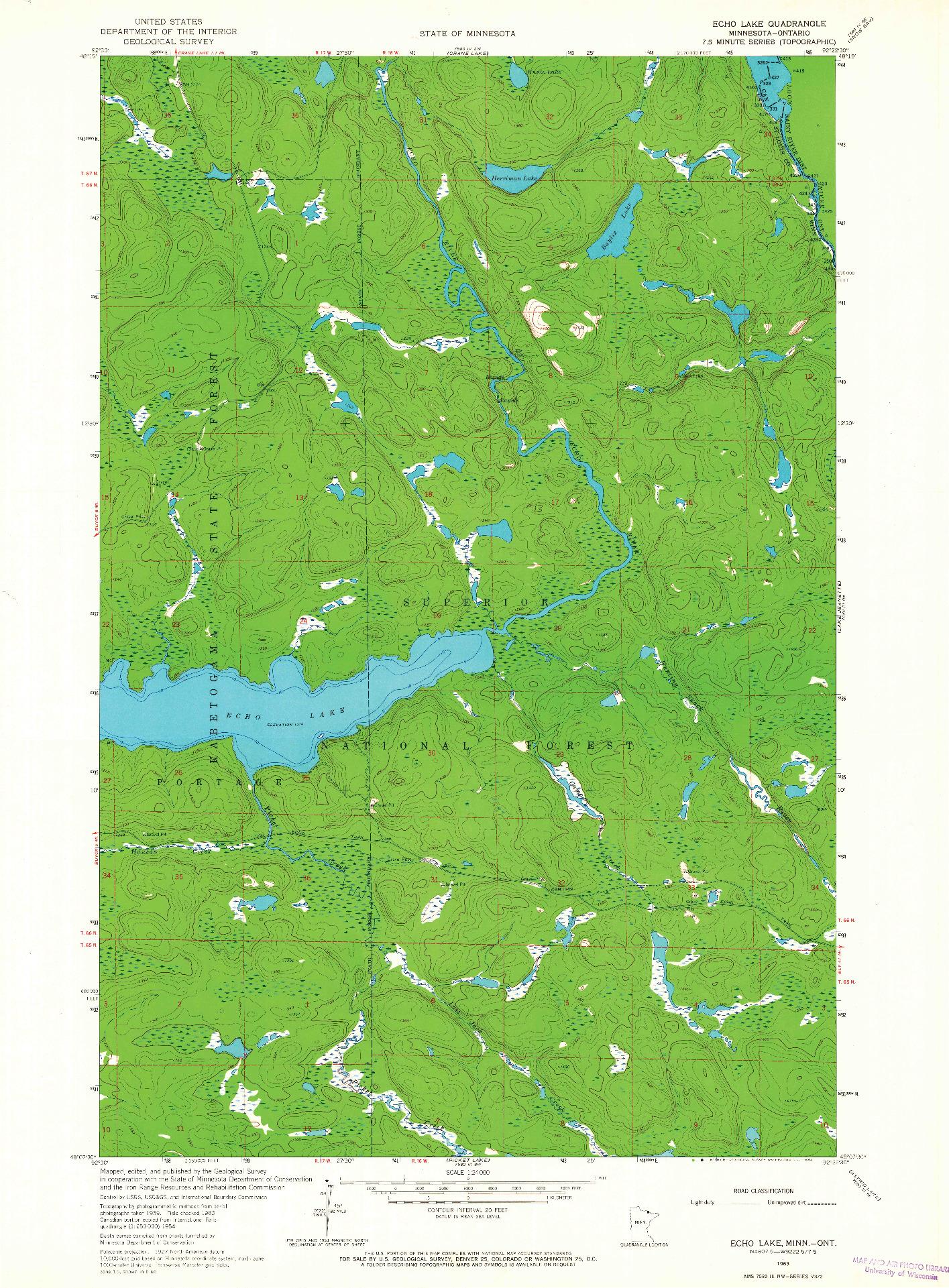 USGS 1:24000-SCALE QUADRANGLE FOR ECHO LAKE, MN 1963