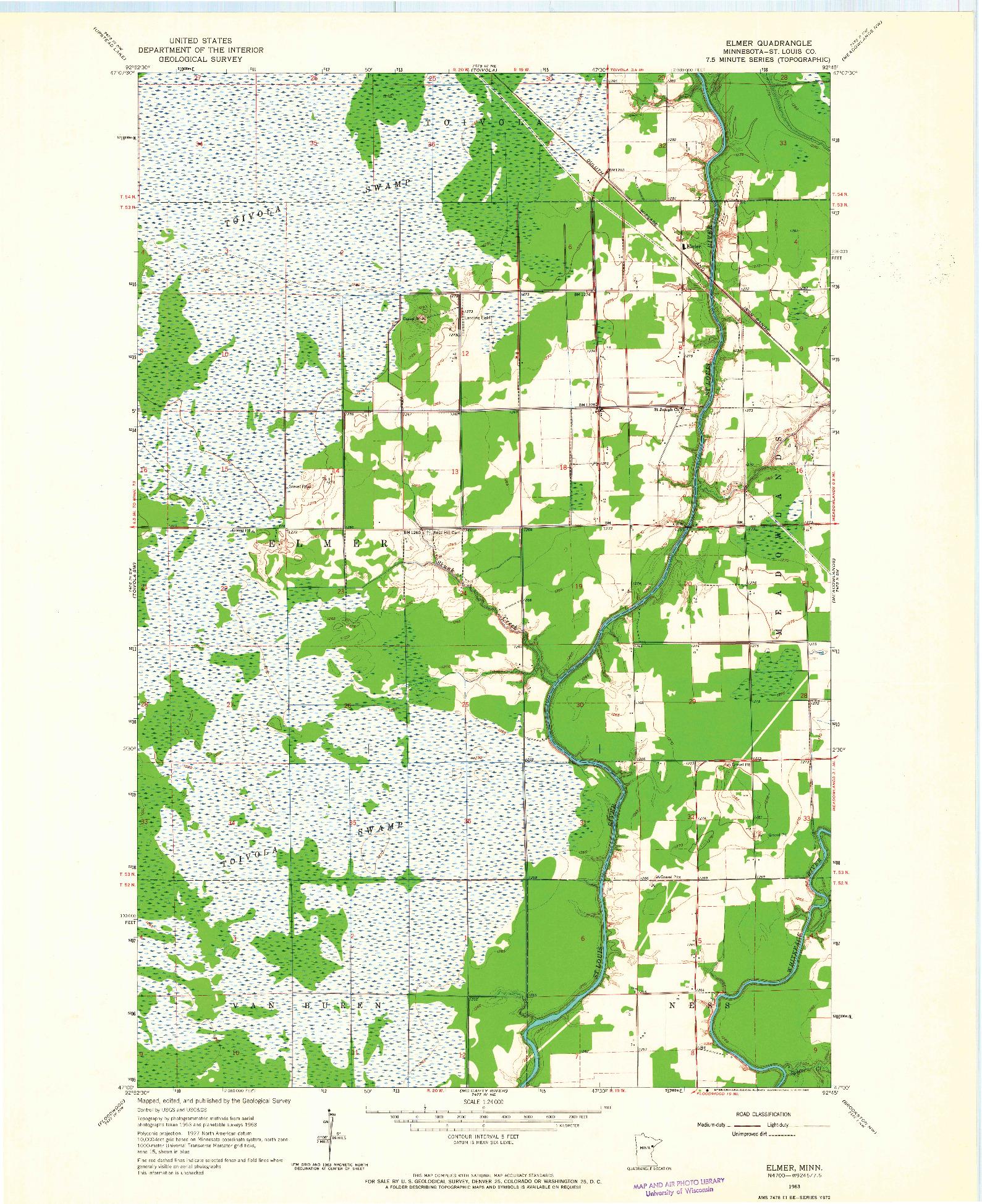 USGS 1:24000-SCALE QUADRANGLE FOR ELMER, MN 1963