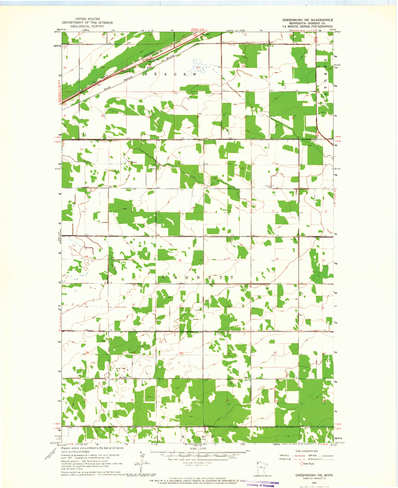 USGS 1:24000-SCALE QUADRANGLE FOR GREENBUSH NE, MN 1962