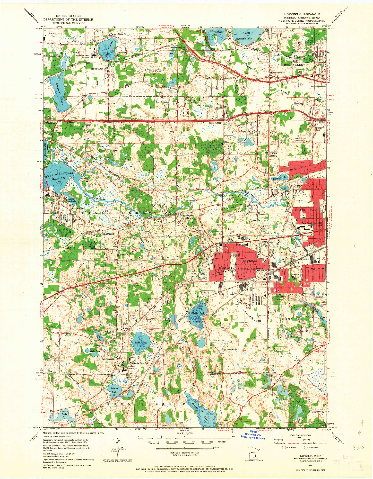 USGS 1:24000-SCALE QUADRANGLE FOR HOPKINS, MN 1954