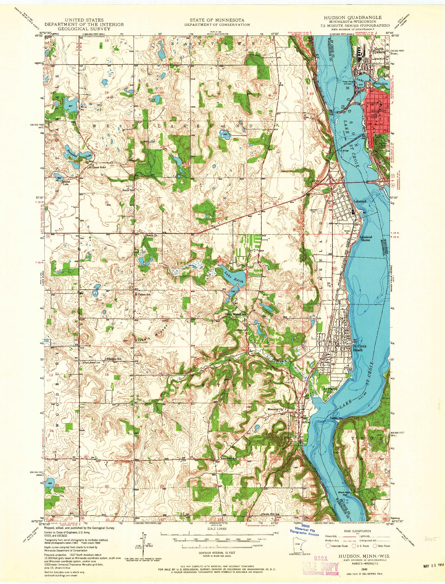 USGS 1:24000-SCALE QUADRANGLE FOR HUDSON, MN 1949