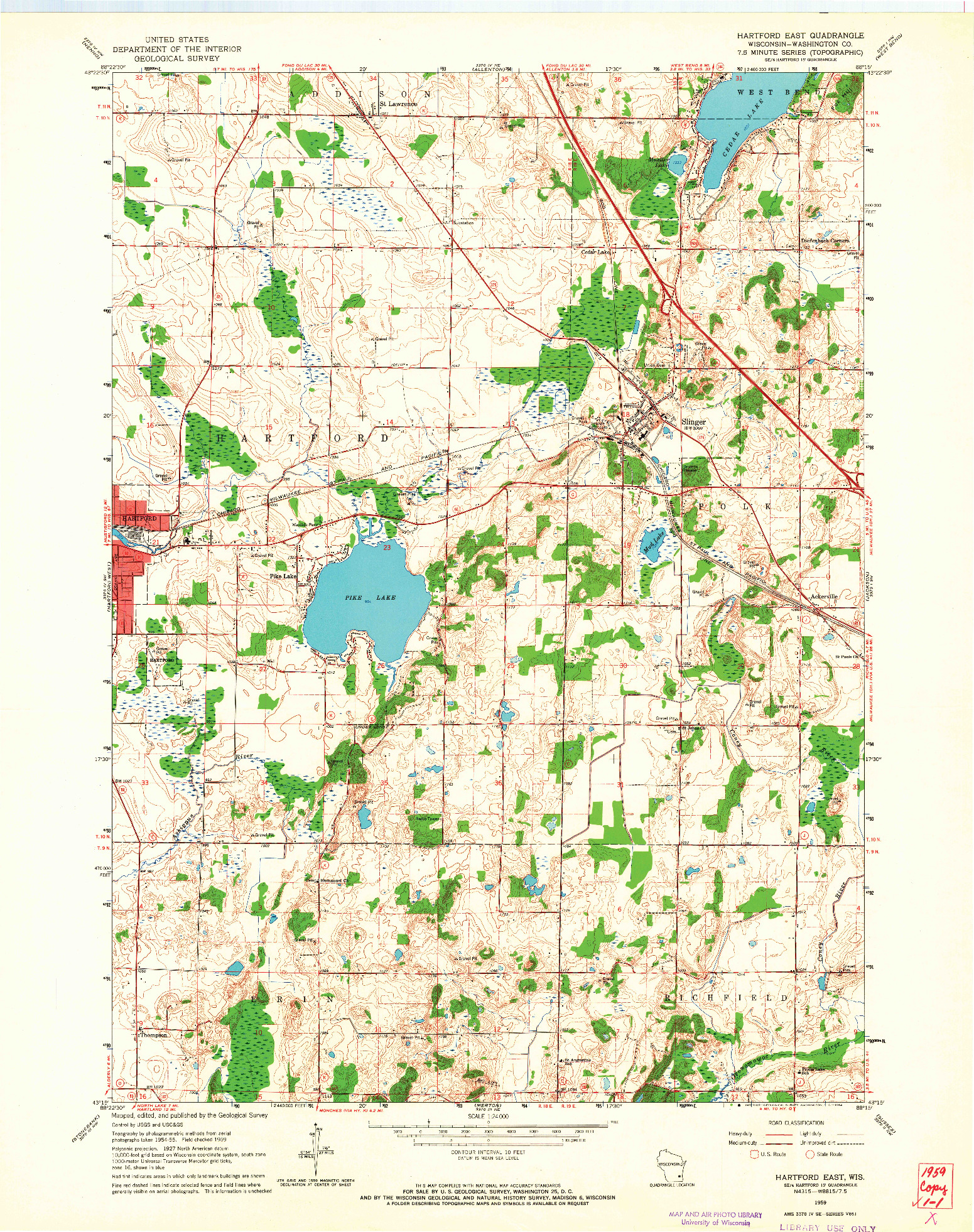 USGS 1:24000-SCALE QUADRANGLE FOR HARTFORD EAST, WI 1959