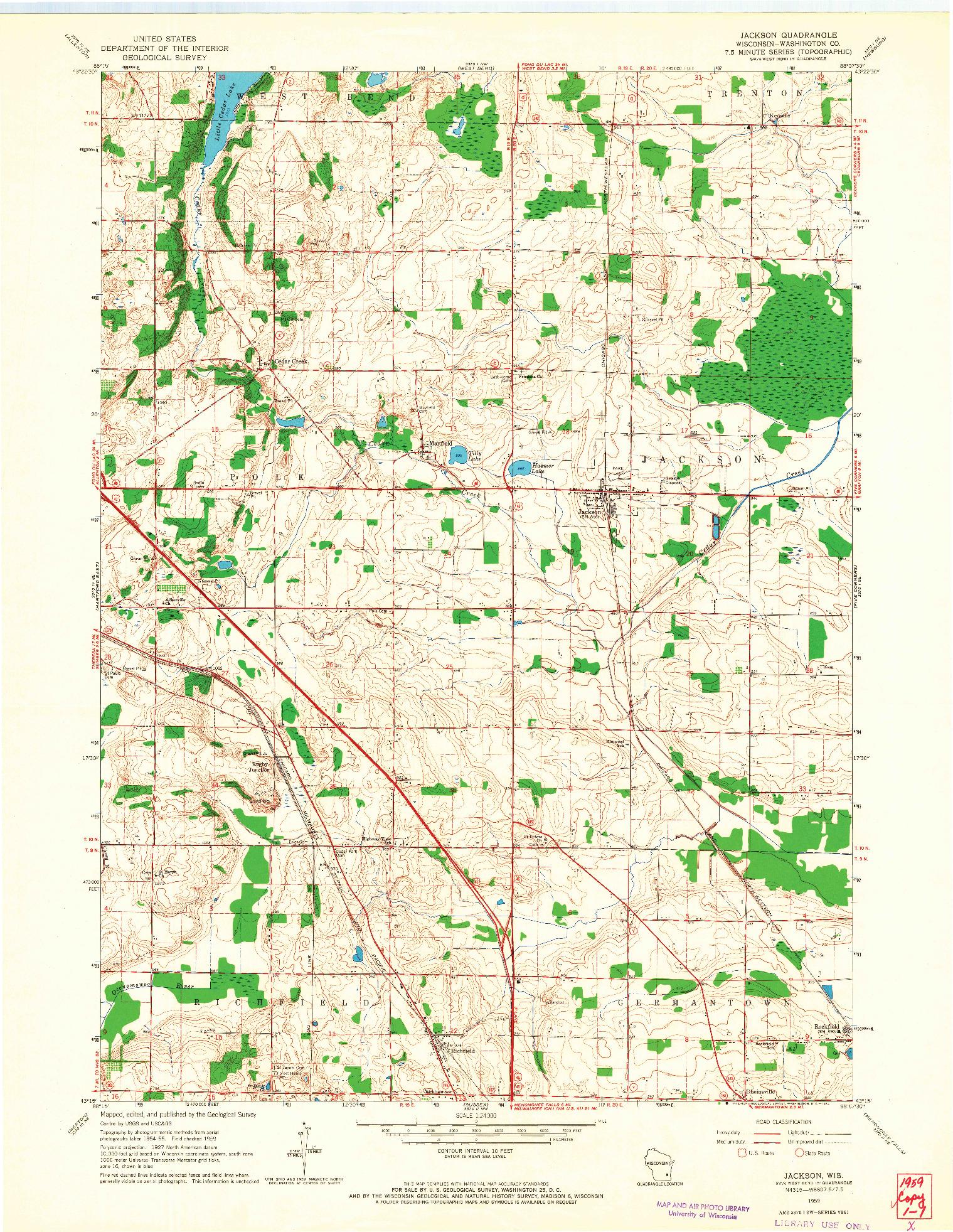 USGS 1:24000-SCALE QUADRANGLE FOR JACKSON, WI 1959