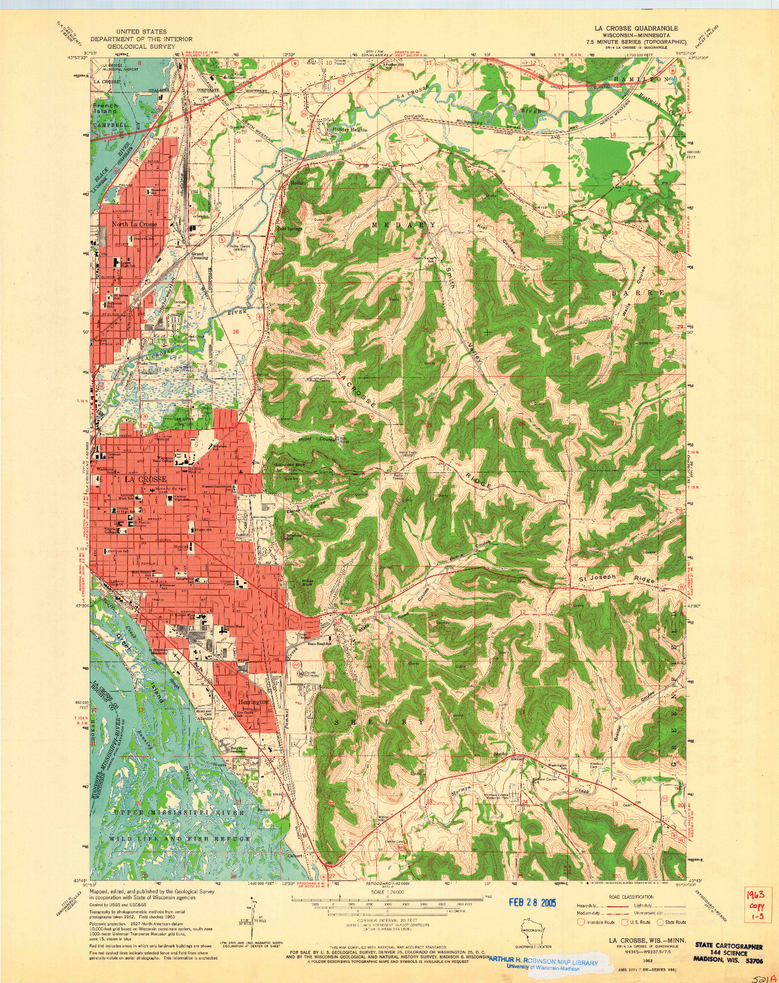 USGS 1:24000-SCALE QUADRANGLE FOR LA CROSSE, WI 1963