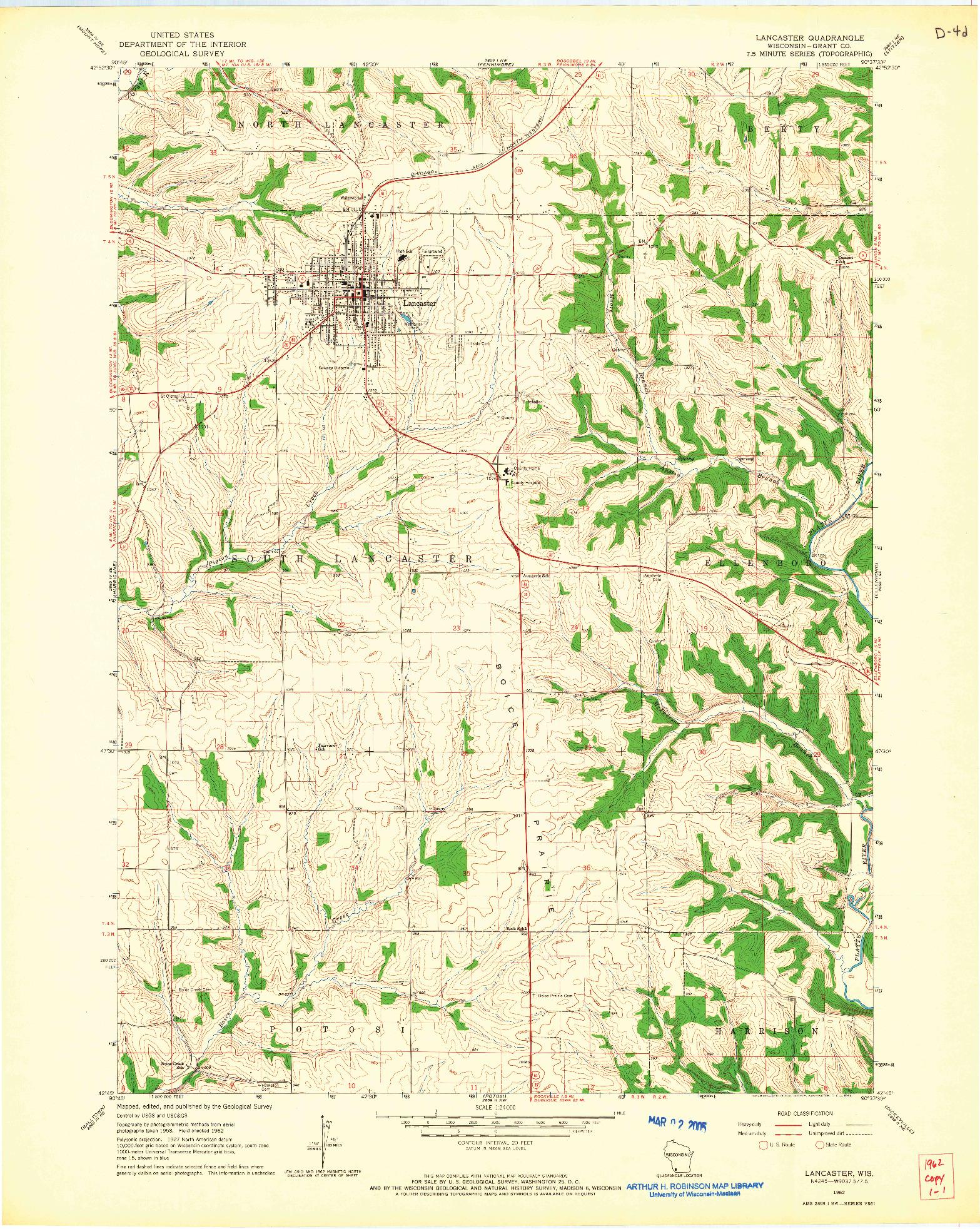 USGS 1:24000-SCALE QUADRANGLE FOR LANCASTER, WI 1962