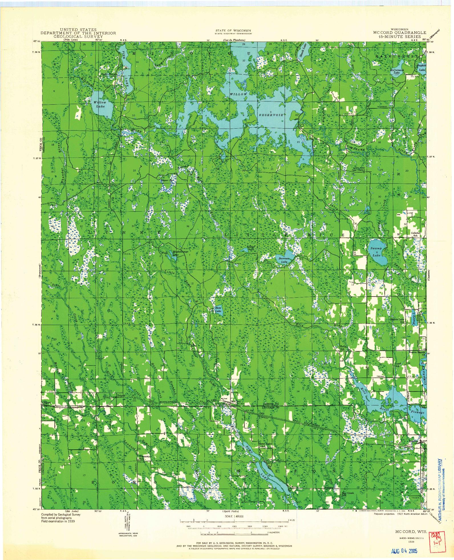 USGS 1:48000-SCALE QUADRANGLE FOR MC CORD, WI 1939