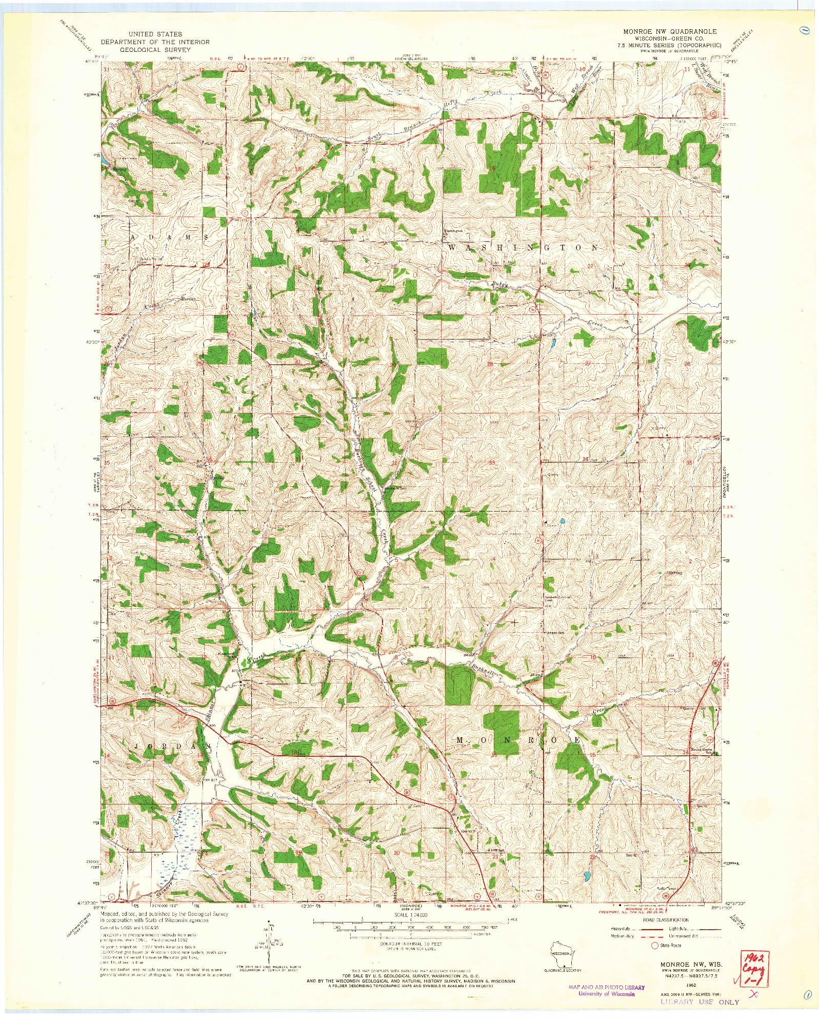 USGS 1:24000-SCALE QUADRANGLE FOR MONROE NW, WI 1962