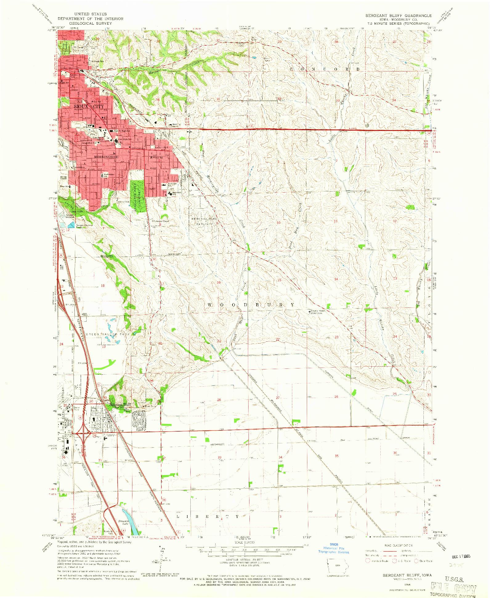 USGS 1:24000-SCALE QUADRANGLE FOR SERGEANT BLUFF, IA 1964