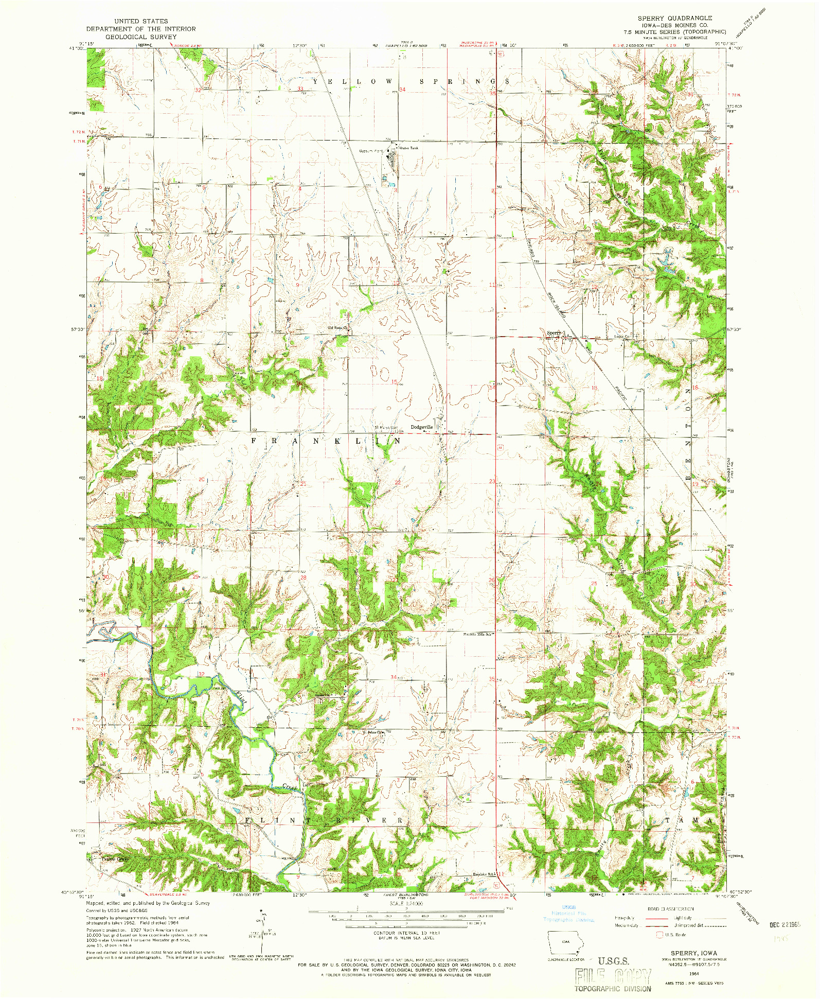USGS 1:24000-SCALE QUADRANGLE FOR SPERRY, IA 1964