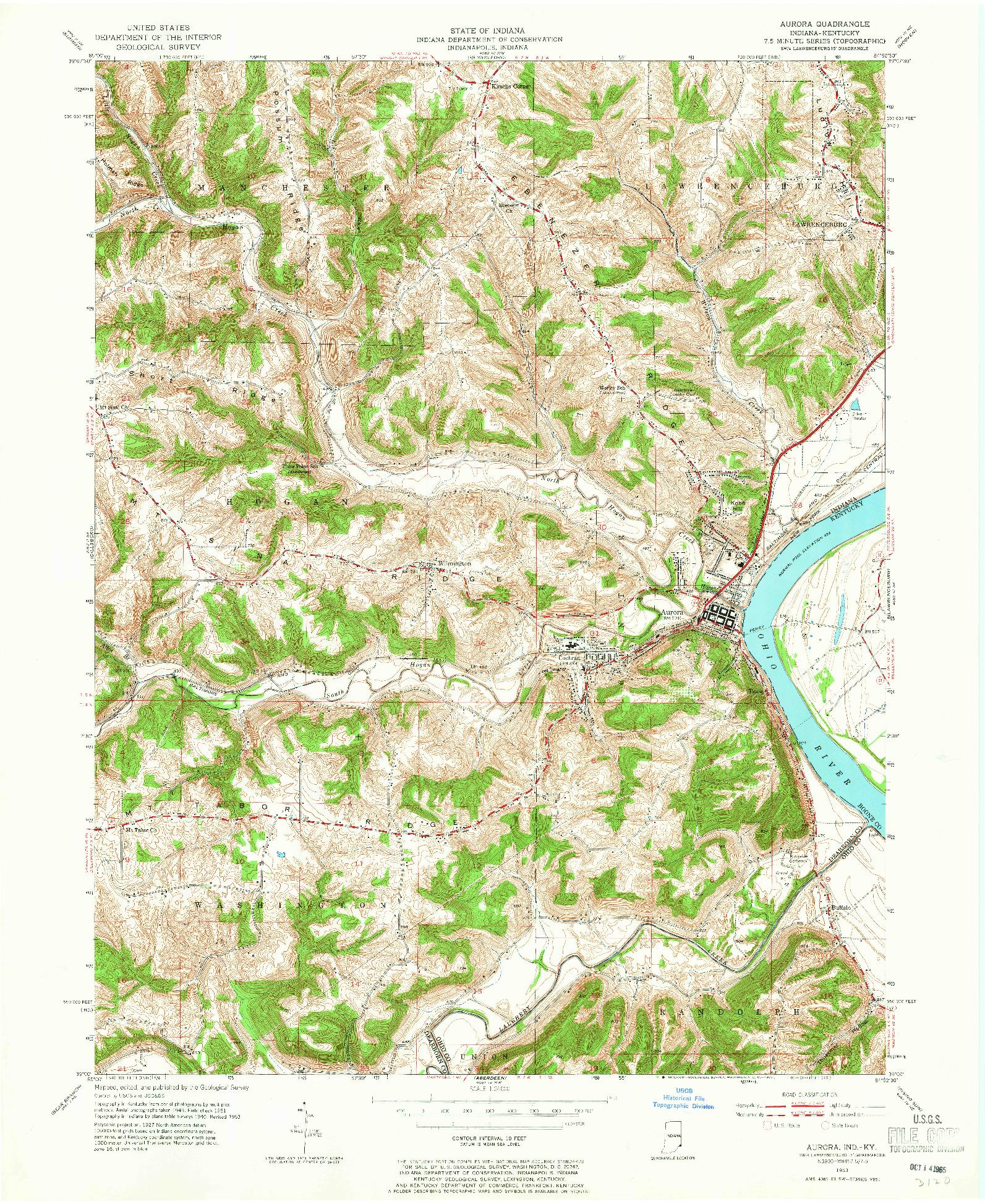 USGS 1:24000-SCALE QUADRANGLE FOR AURORA, IN 1953
