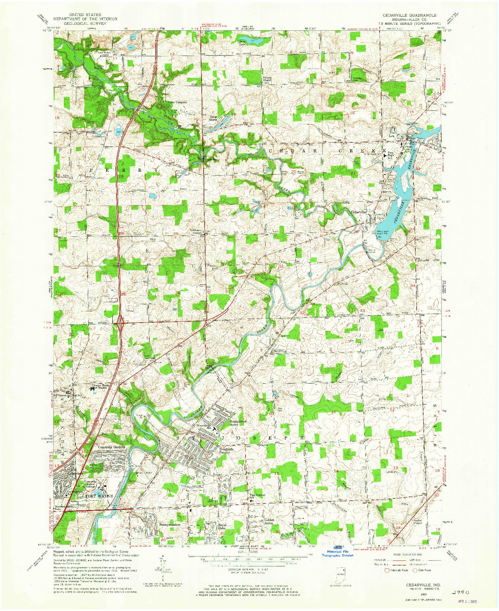 USGS 1:24000-SCALE QUADRANGLE FOR CEDARVILLE, IN 1963