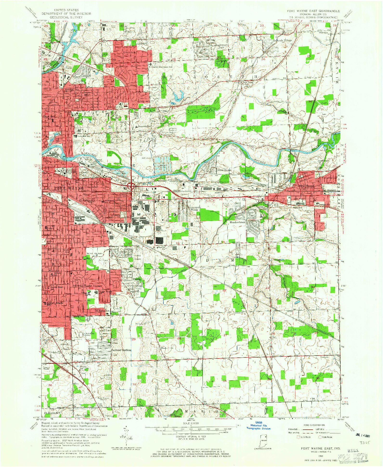 USGS 1:24000-SCALE QUADRANGLE FOR FORT WAYNE EAST, IN 1963