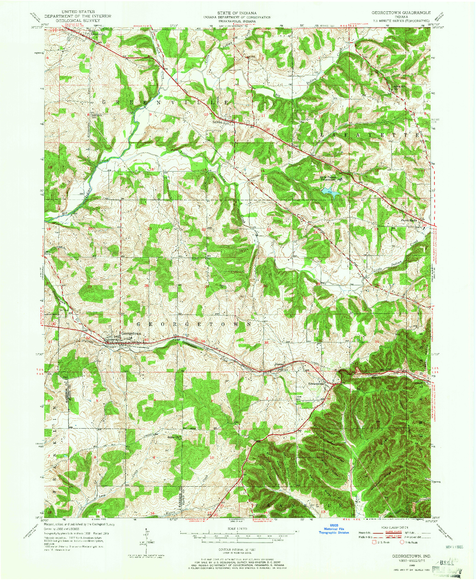 USGS 1:24000-SCALE QUADRANGLE FOR GEORGETOWN, IN 1949