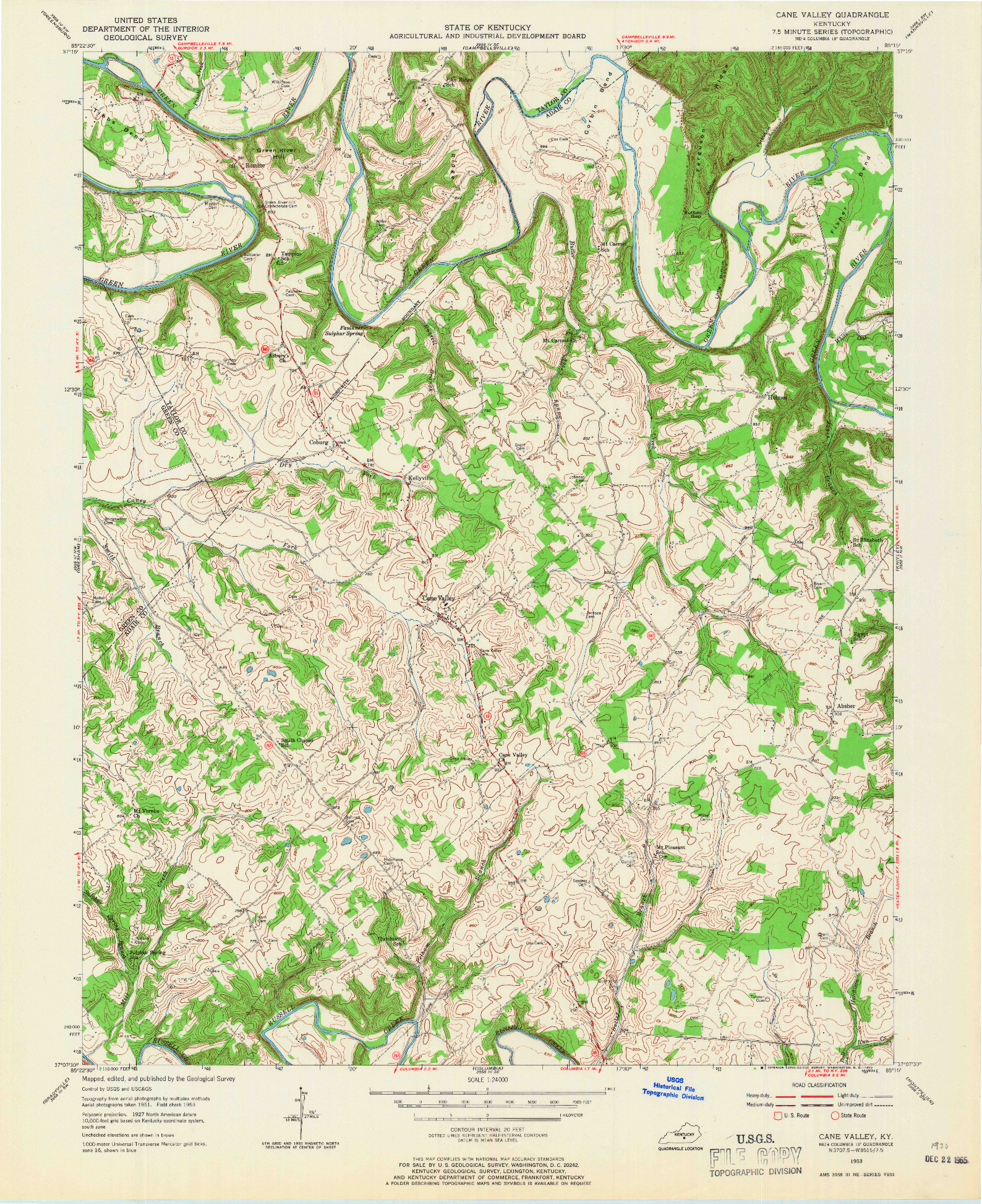 USGS 1:24000-SCALE QUADRANGLE FOR CANE VALLEY, KY 1953