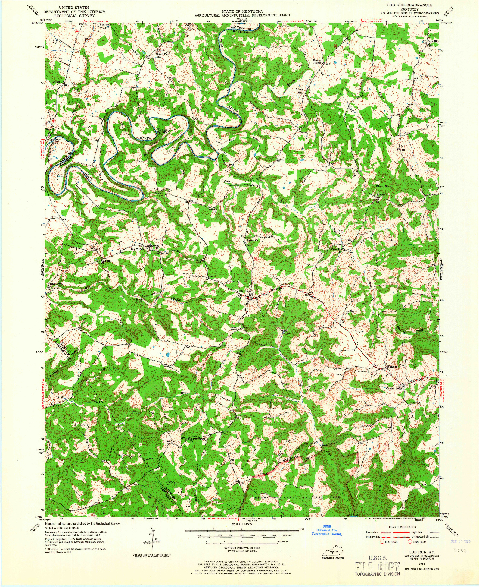 USGS 1:24000-SCALE QUADRANGLE FOR CUB RUN, KY 1954